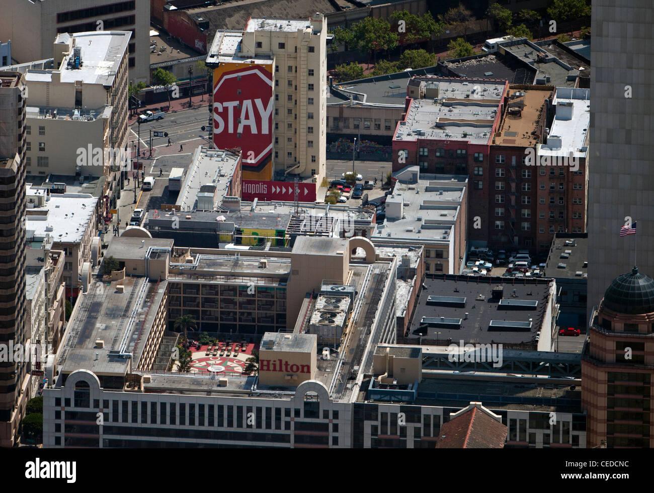 aerial photograph Hilton Hotel San Francisco Union Square, California - Stock Image