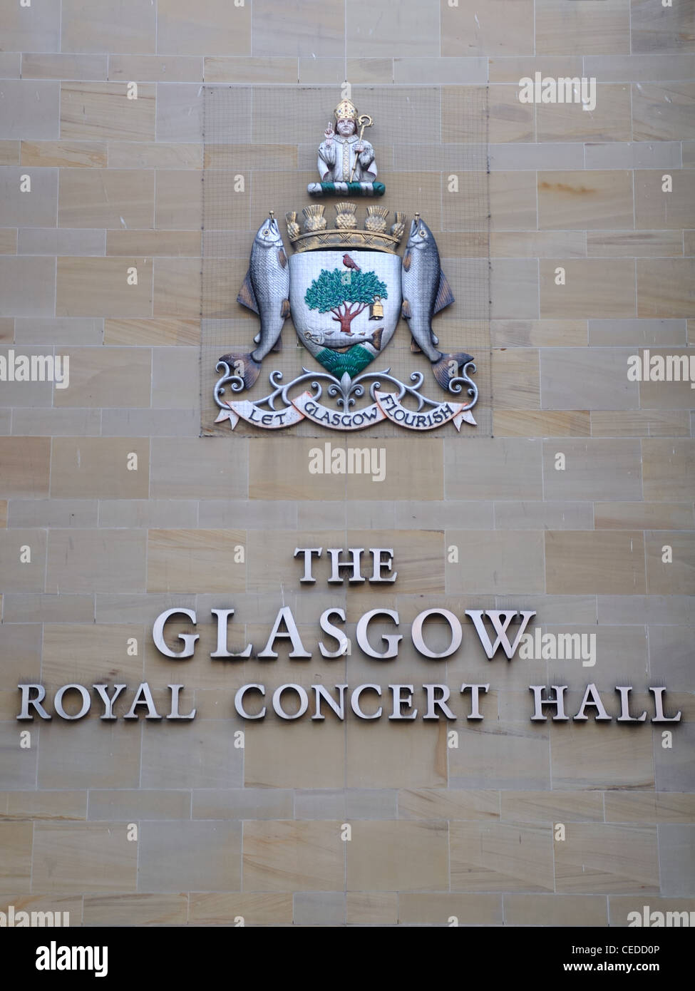 The Glasgow coat of arms, 'Let Glasgow Flourish' on the wall of the Royal Glasgow Concert Hall, Scotland, - Stock Image