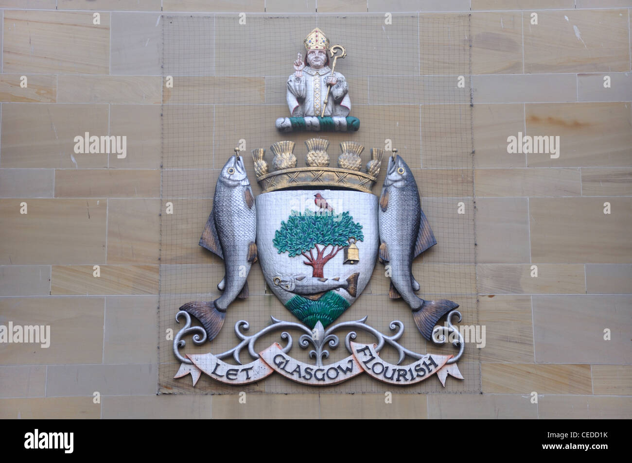 The Glasgow coat of arms, 'Let Glasgow Flourish' on the wall of the Royal Glasgow Concert Hall - Stock Image