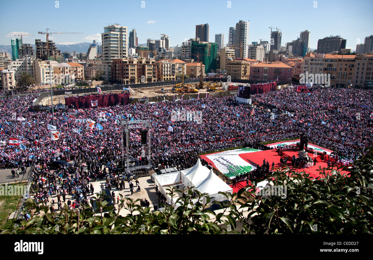 Up to a million people fill Martyrs Square in Beirut, Lebanon. The city-centre towers form the backdrop. Stock Photo