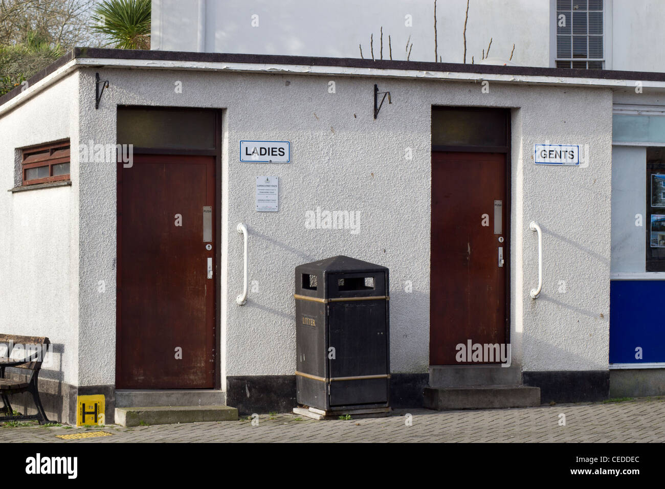 Ladies and gents toilets in Penzance, Cornwall UK. - Stock Image
