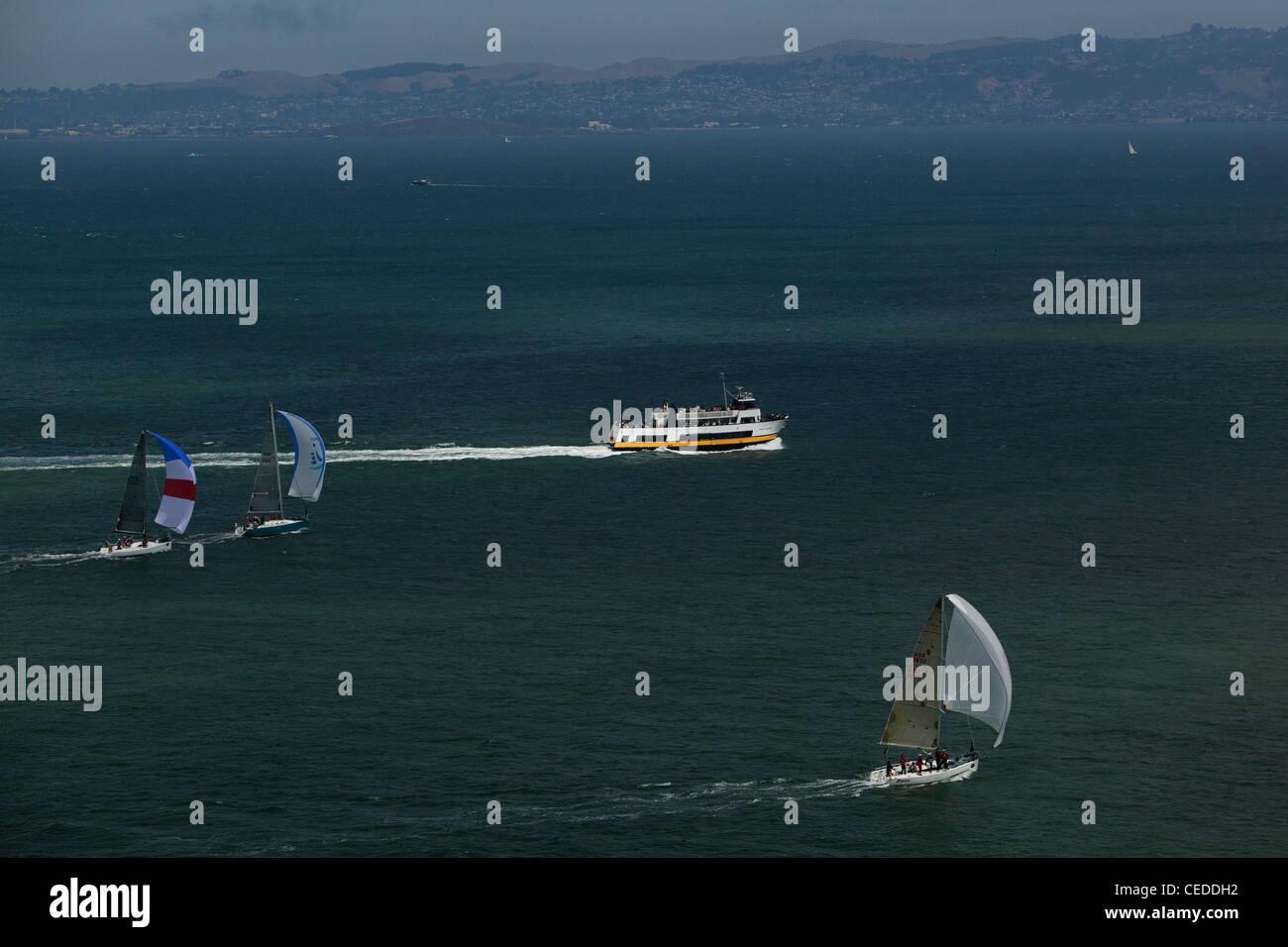 aerial photograph Rolex Big Boat Series sailboat regatta San Francisco bay California - Stock Image