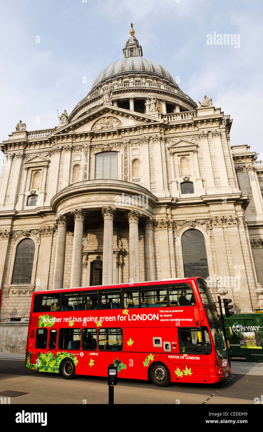 New London electric double decker red bus London England Great Britain UK - Stock Image