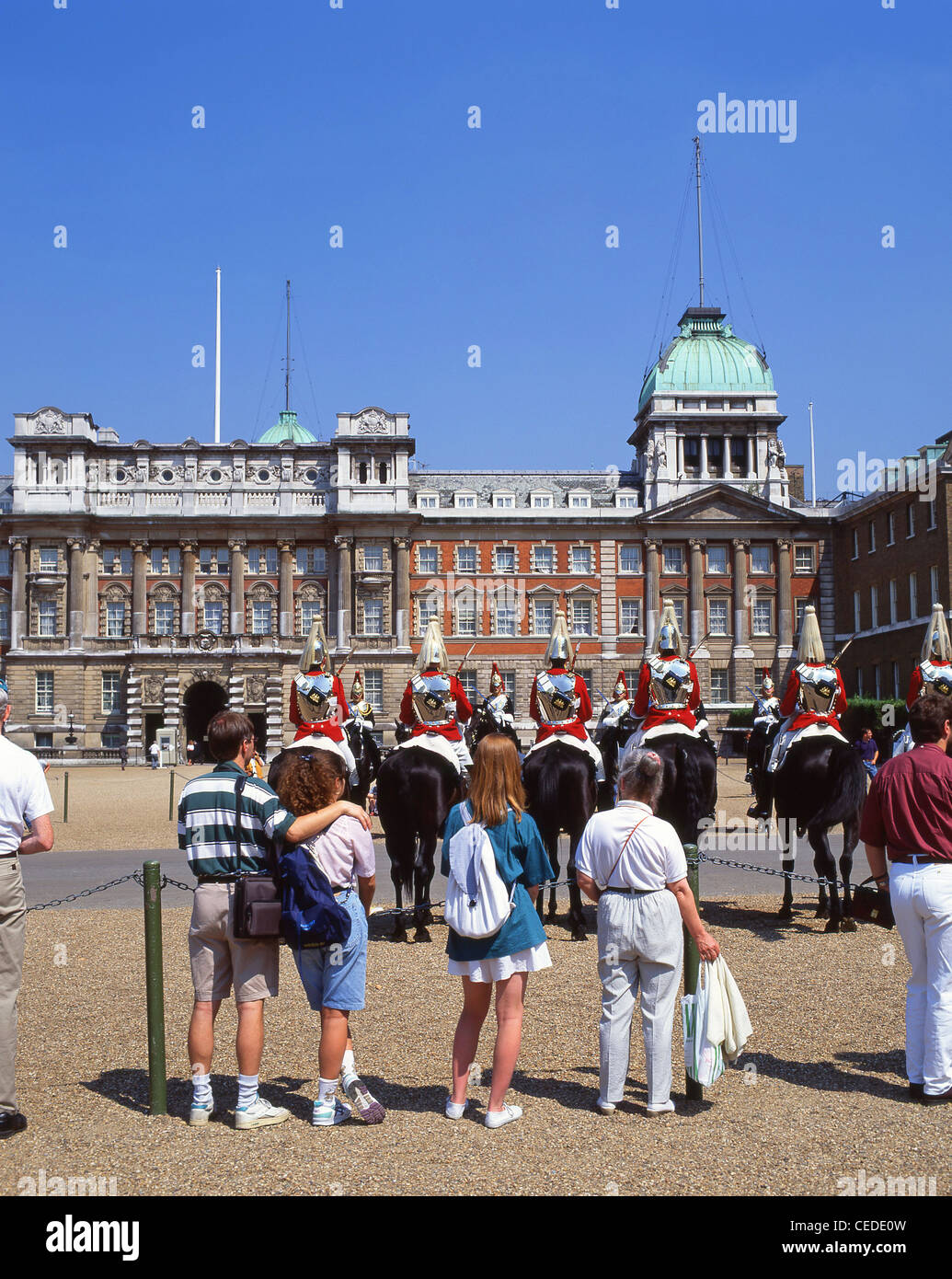 Changing of the Guard ceremony, Horse Guards Parade, Whitehall, City of Westminster, London, England, United Kingdom - Stock Image