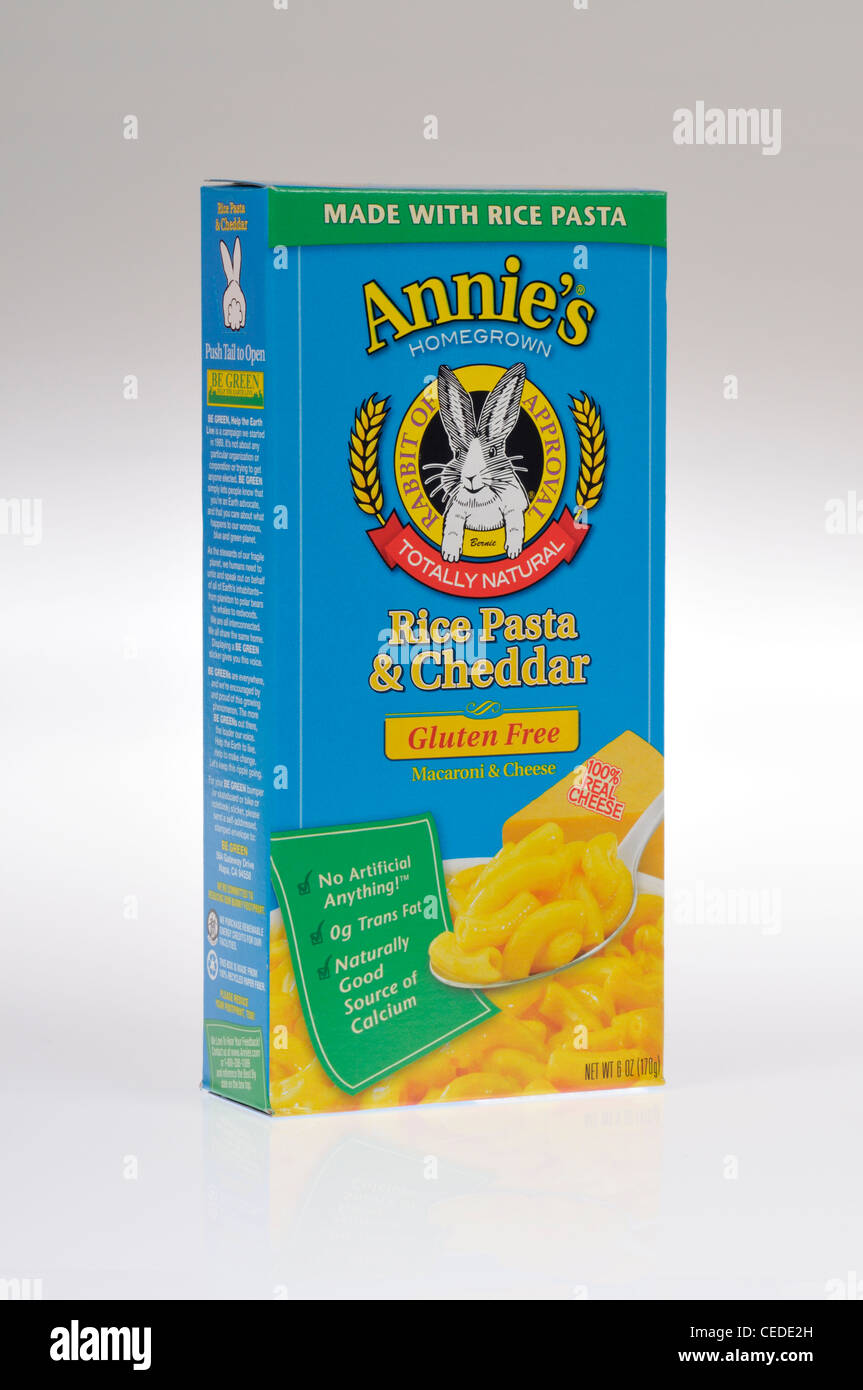 Box of Annie's Homegrown natural gluten-free macaroni and cheddar cheese rice pasta on white background, cutout. - Stock Image