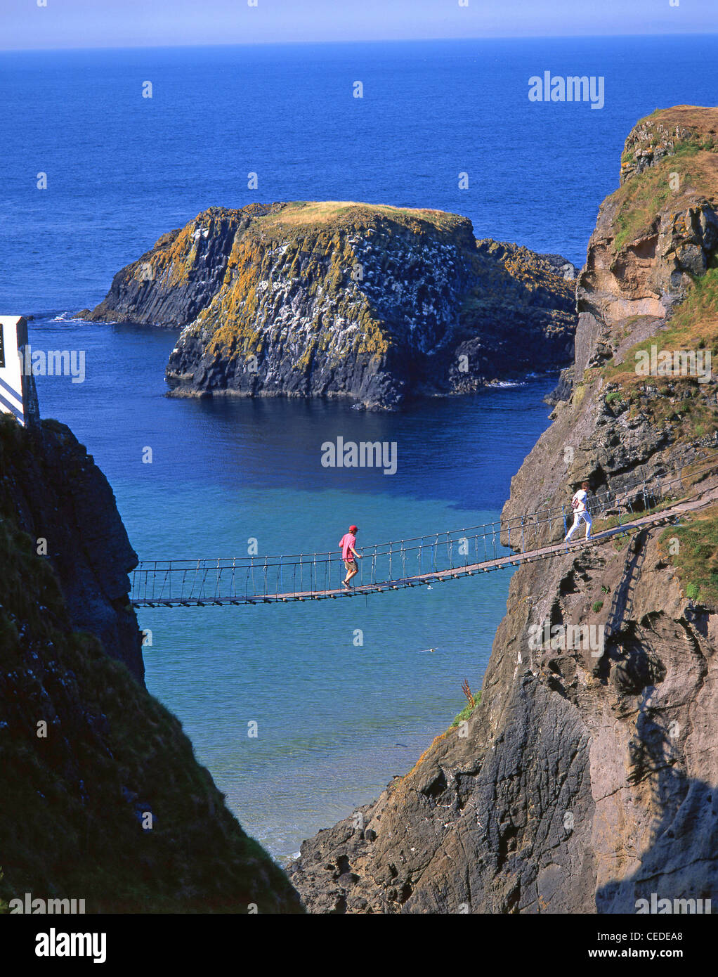 Carrick-A-Rede Rope Bridge, near Ballintoy, County Antrim, Northern Ireland, United Kingdom - Stock Image