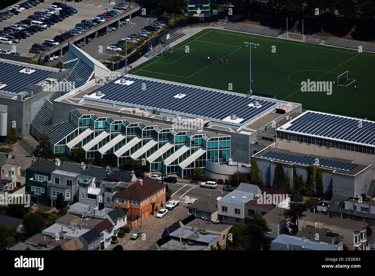aerial photograph solar panels University of San Francisco, California - Stock Image