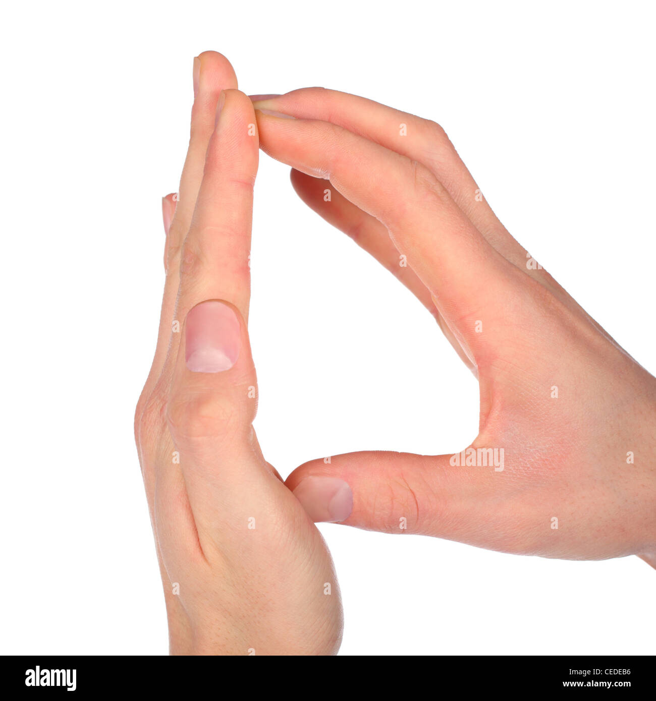 hand represent letter D from alphabet - Stock Image