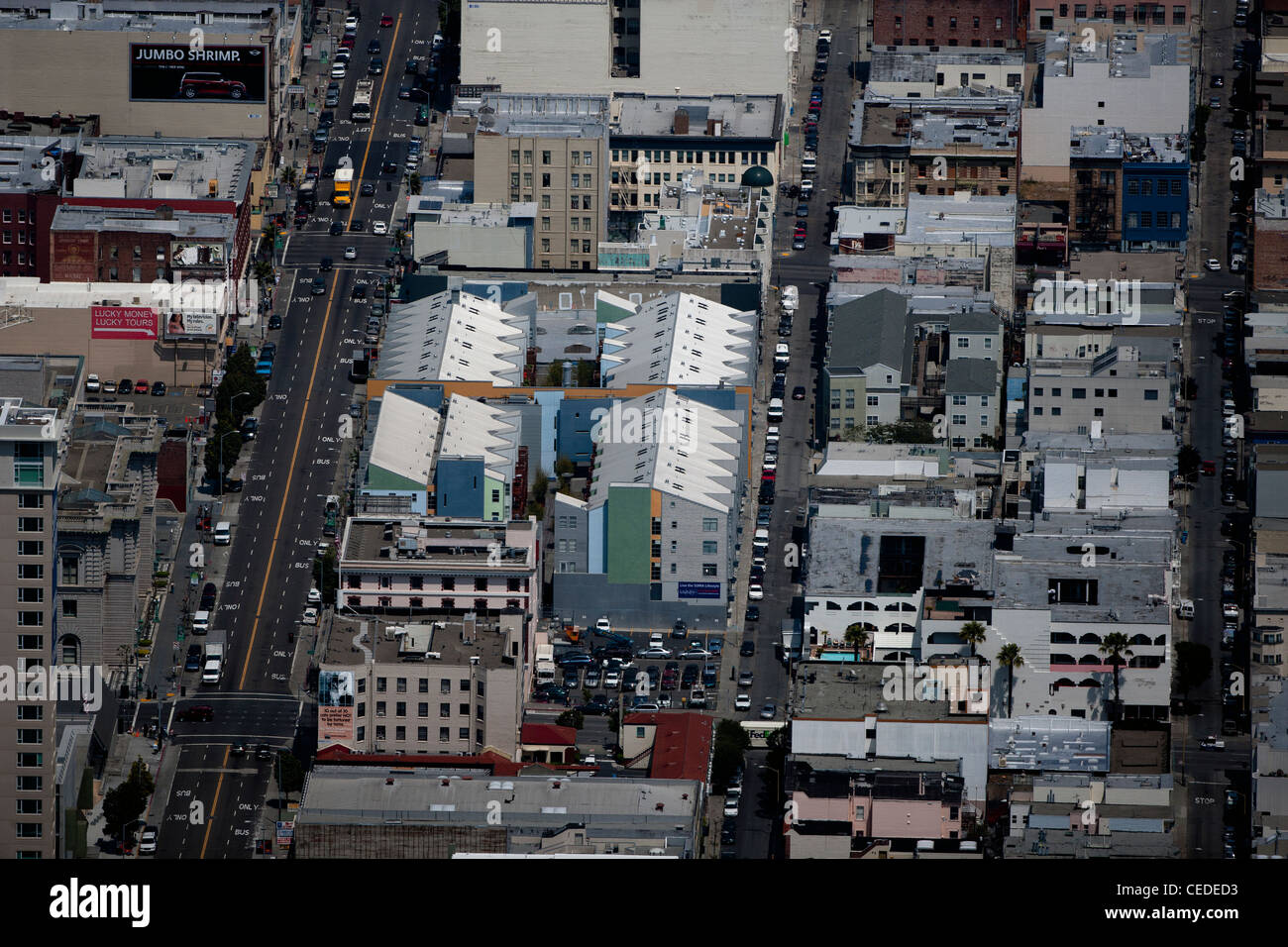 aerial photograph Mission Street South of Market SOMA San Francisco, California - Stock Image