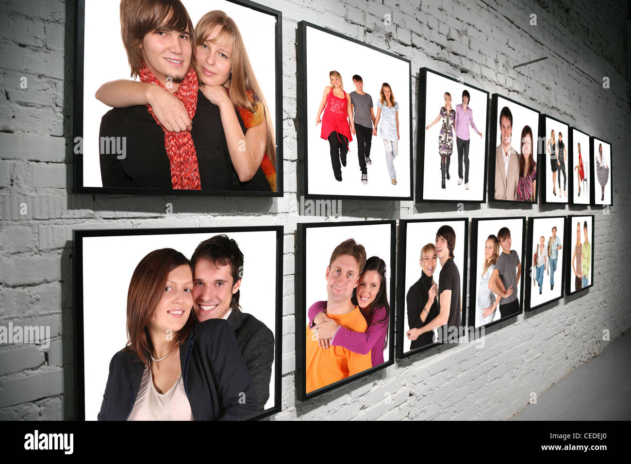 two rows frames with people on brick white wall collage Stock Photo ...