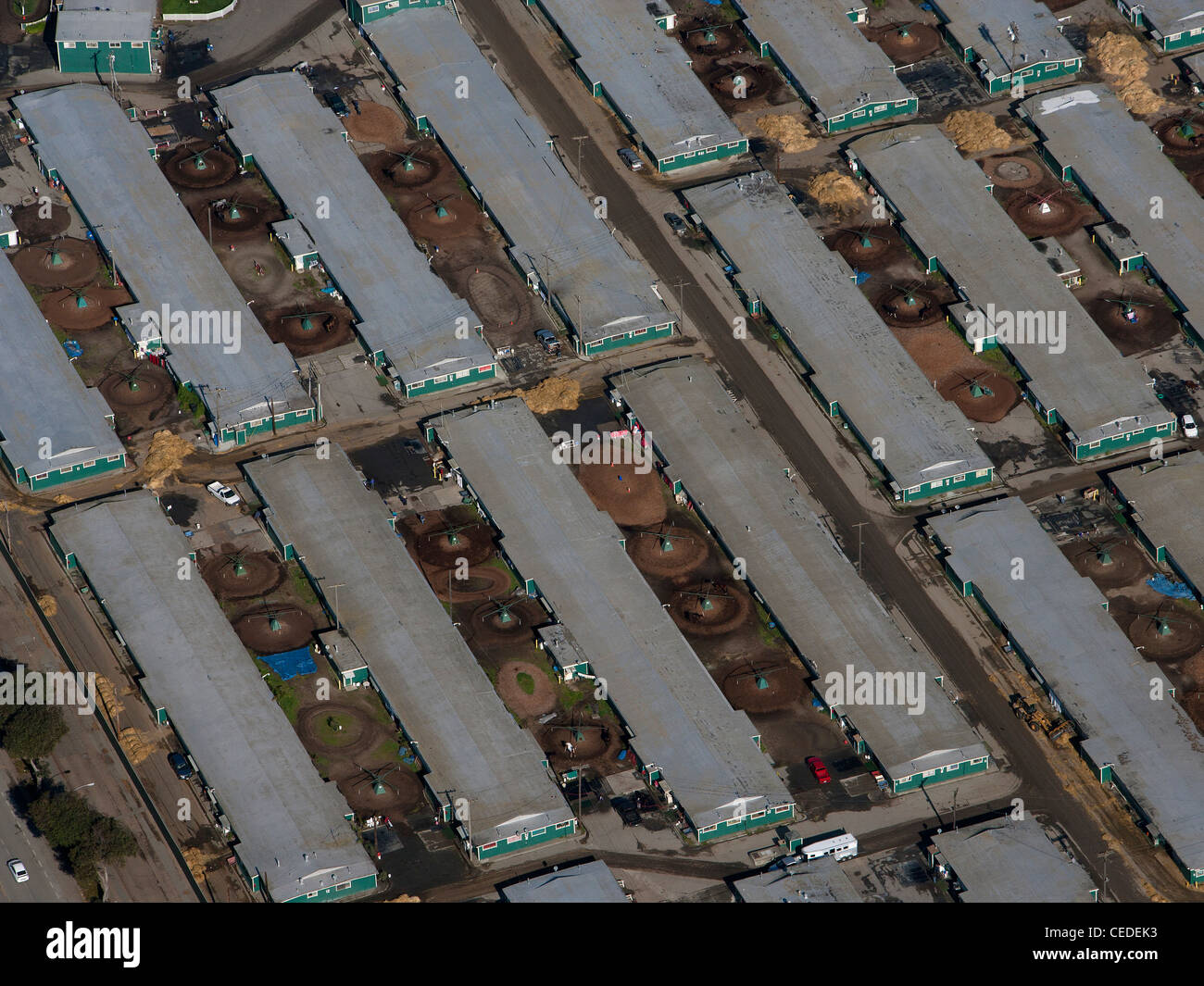 aerial photograph horse race track stables Golden Gate Fields Albany California - Stock Image