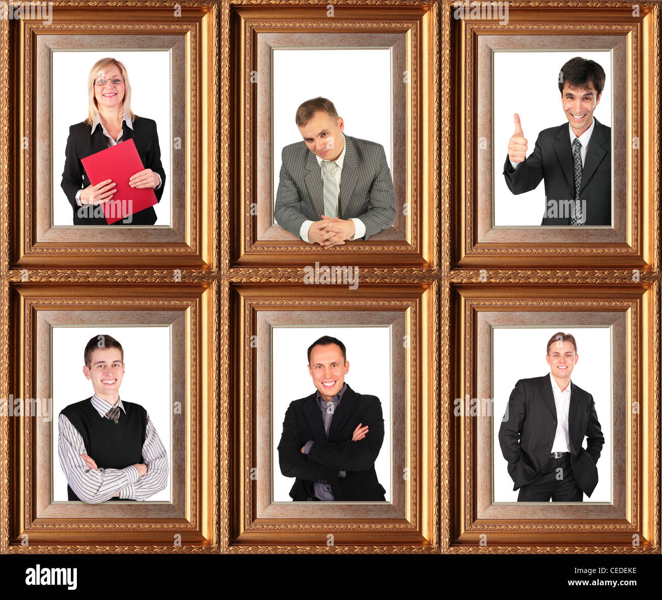business themed collage, Framed half-length portraits of six Stock ...