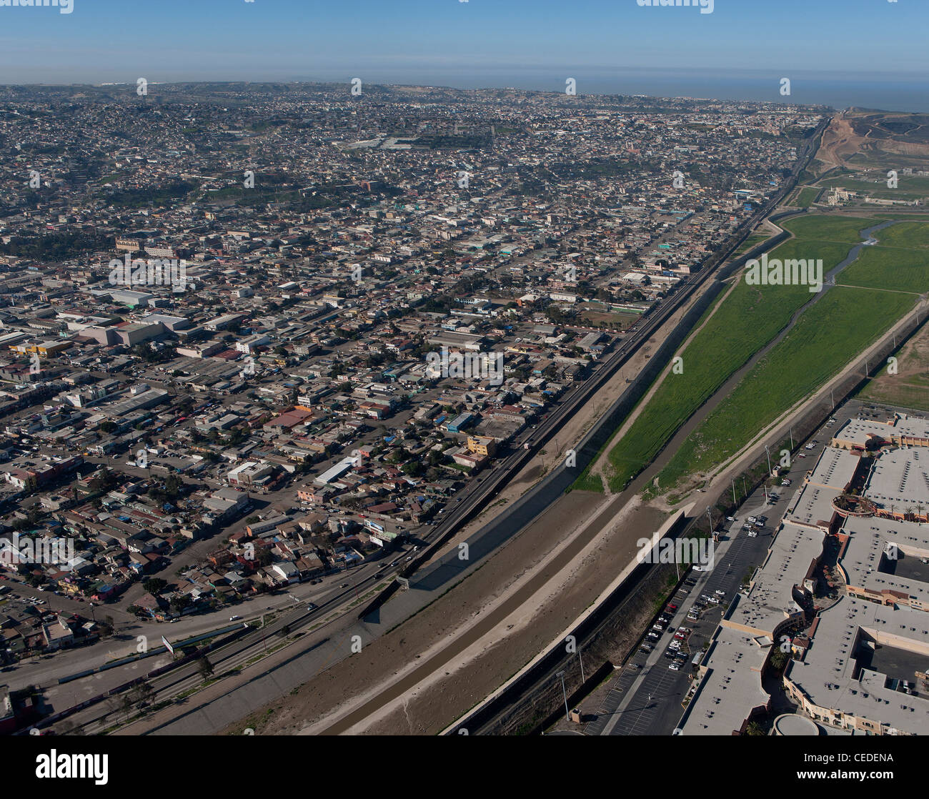 aerial photograph Mexican American border fence Tijuana Mexico - Stock Image