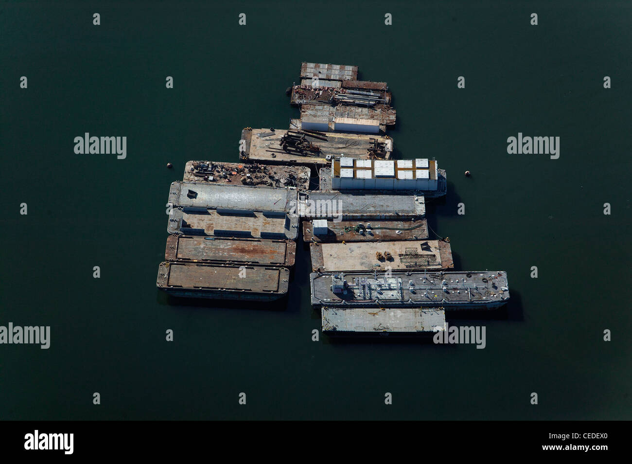 aerial photograph anchored barges San Diego bay, California - Stock Image