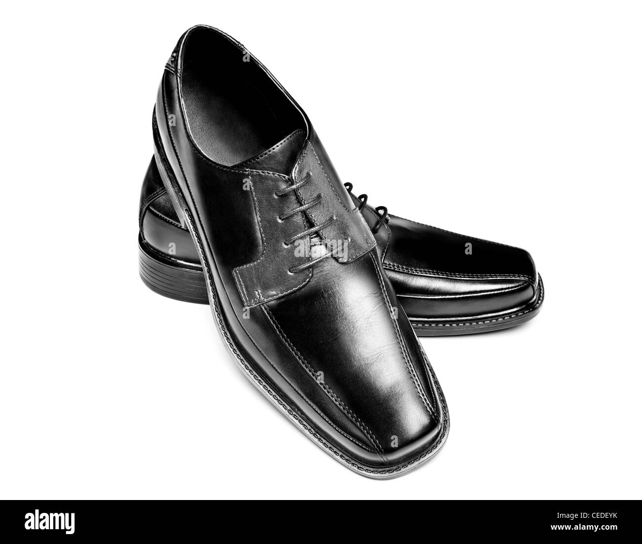 ceb08674 A pair of new leather dress shoes on a white background Stock Photo ...