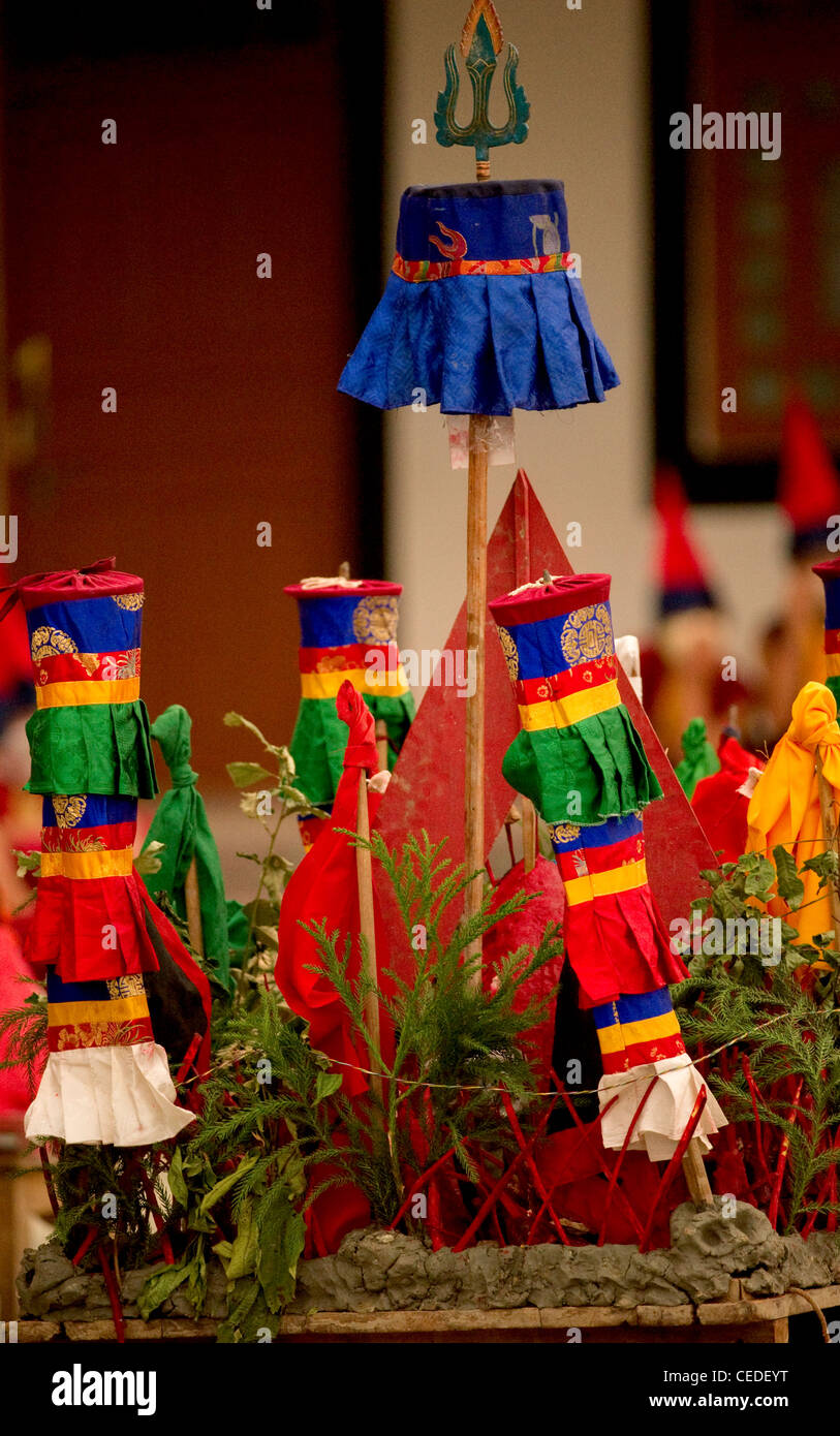 Ritual objects for the Losar ceremony in a Buddhist Monastery, Sikkim, India Stock Photo
