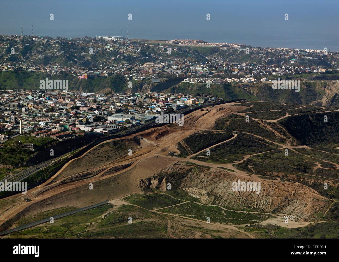 aerial photograph border fence Tijuana Mexico - Stock Image