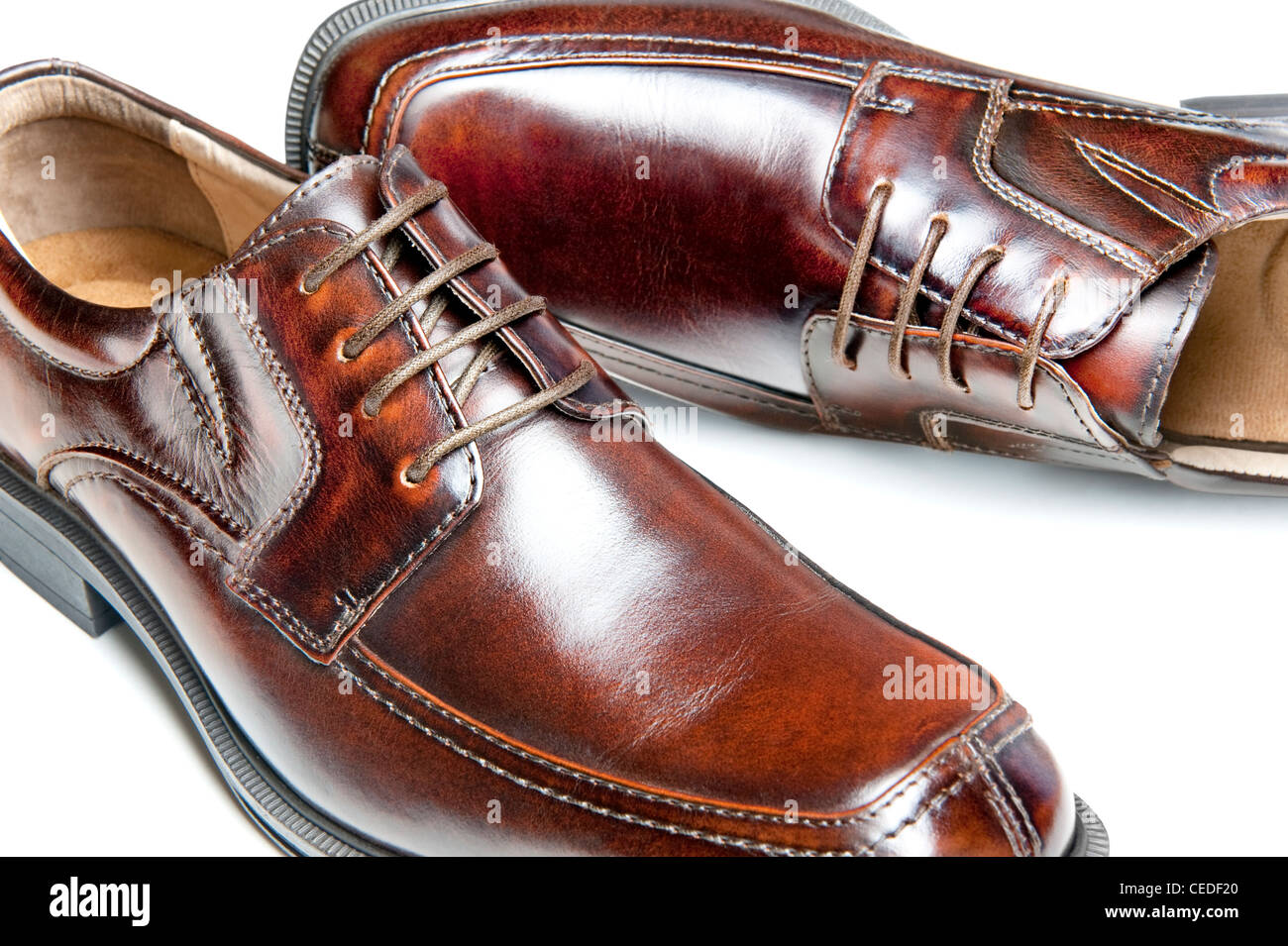 1f384838 Close up of a new pair of brown leather dress shoes Stock Photo ...