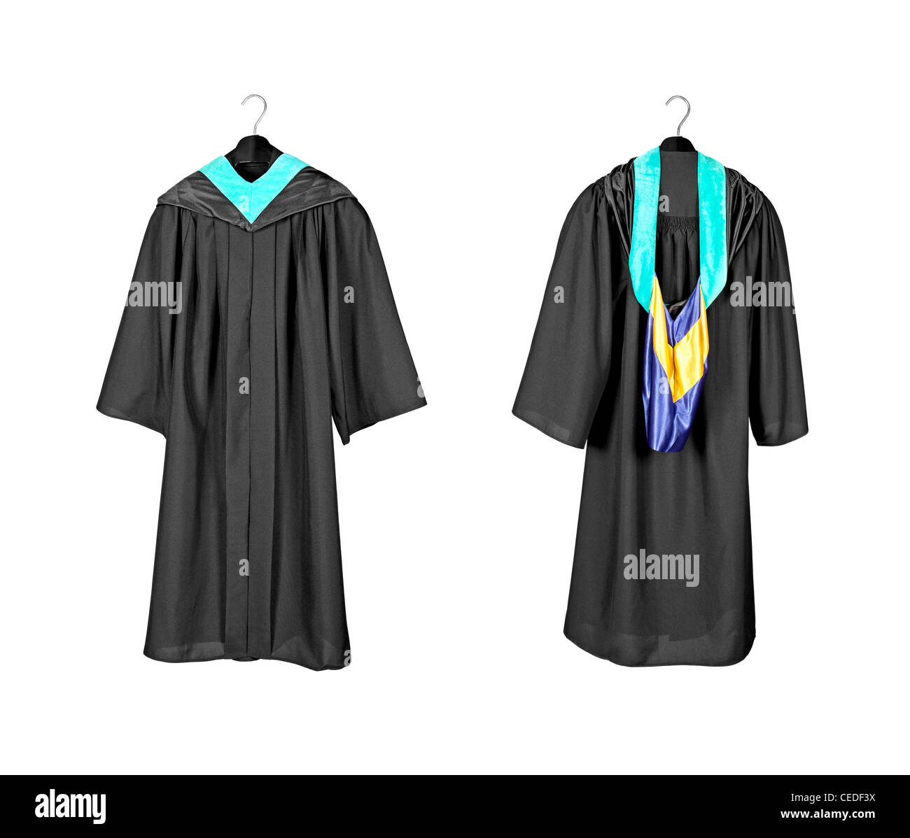 A front and rear view of a graduation gown with purple and blue hood indicating graduation with distinction and - Stock Image