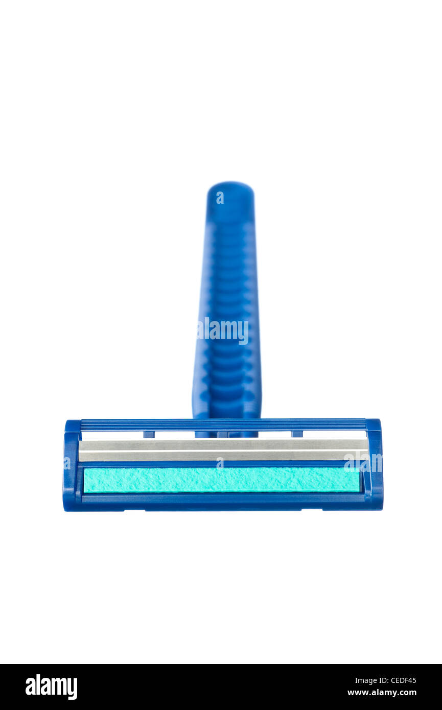 A new disposable razor shaving blade with blue lubricant strip - Stock Image