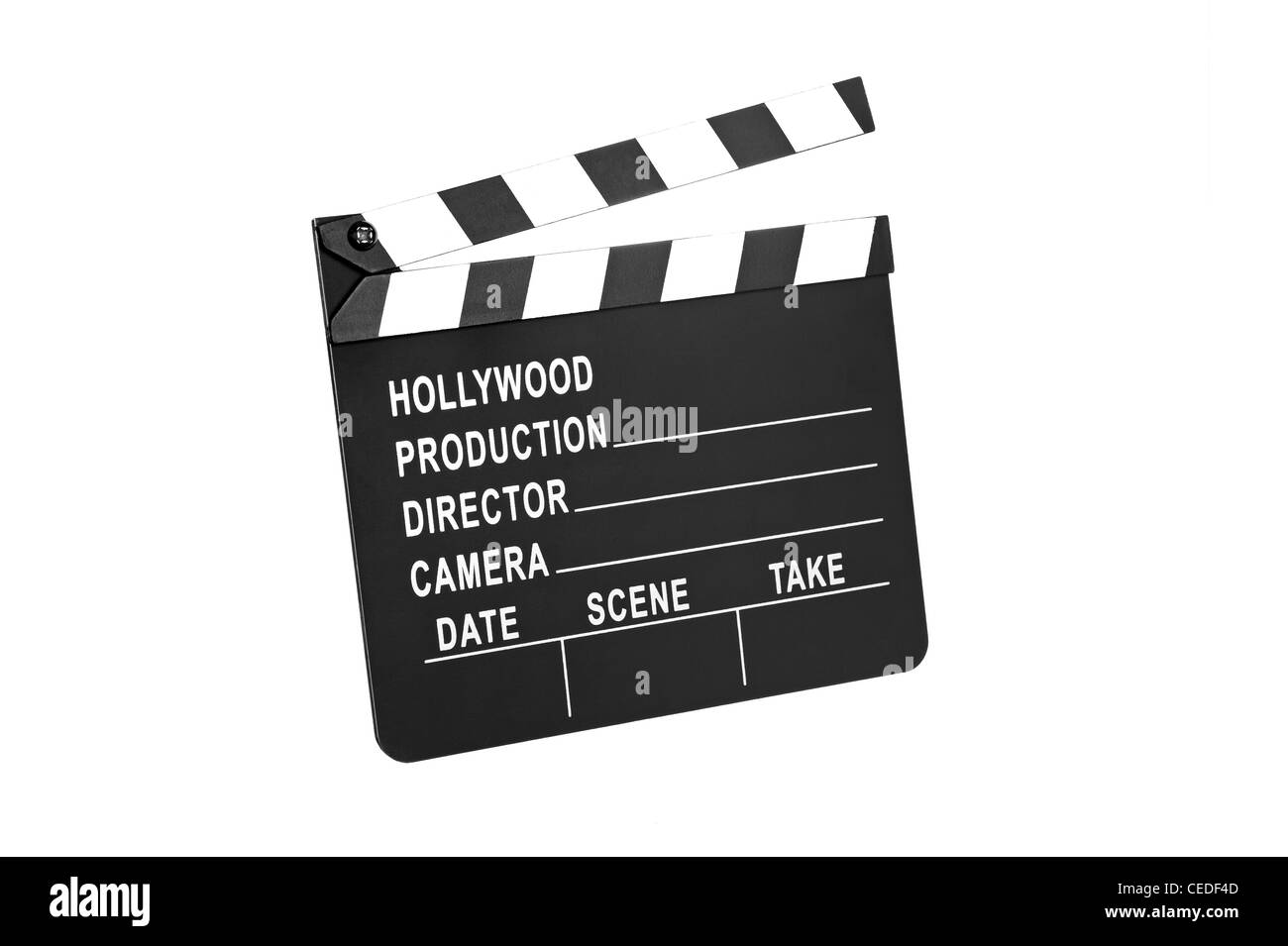A movie production film slate isolated on white - Stock Image
