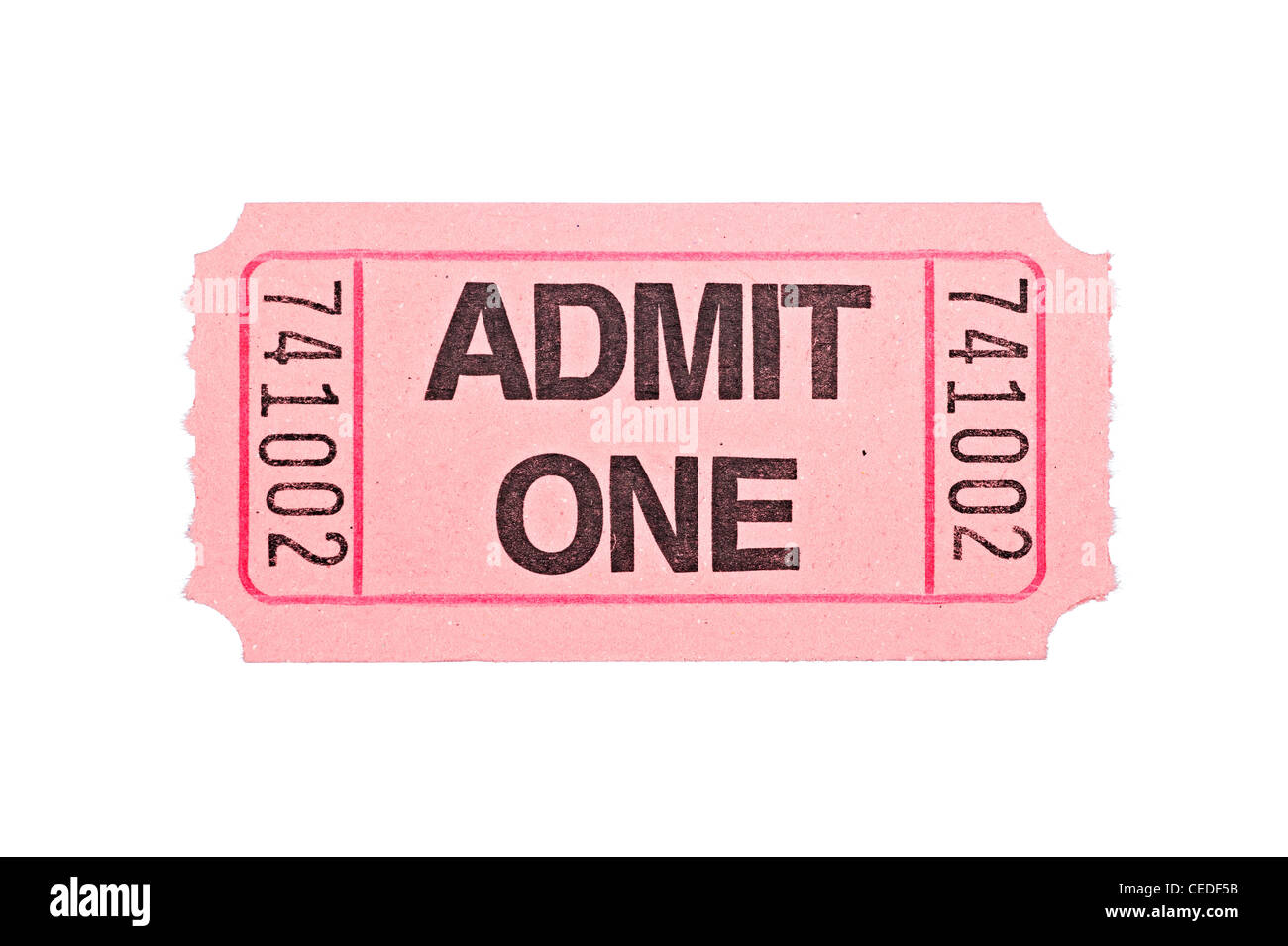 An admittance ticket isolated on a white background - Stock Image