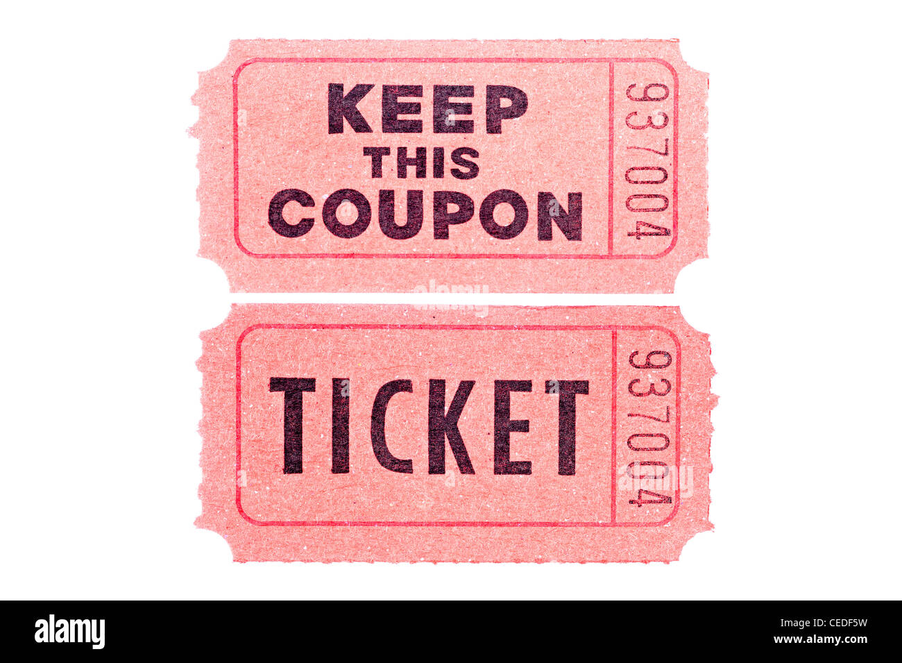 Two tickets isolated on a white background - Stock Image