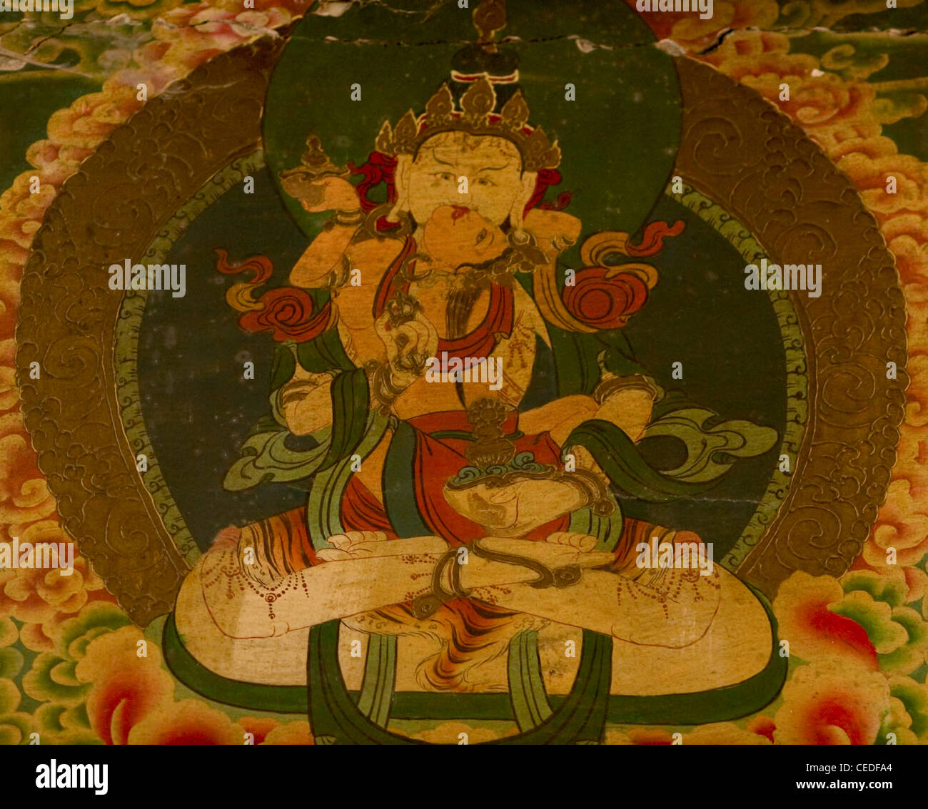 Wall mural painting in a monastery in Kalimpong, India. Age is over a few hundred years.  Stock Photo