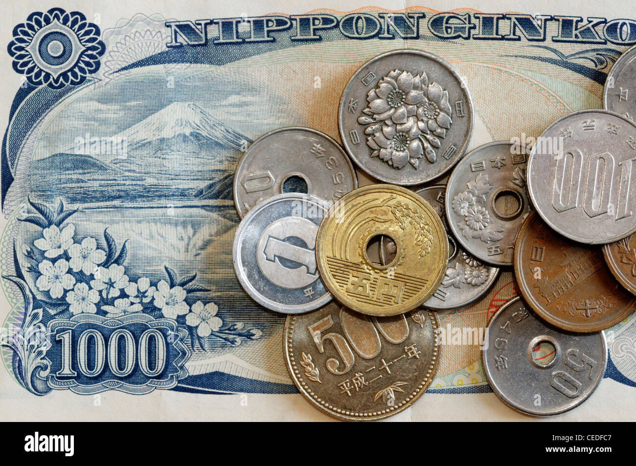 Japanese yen banknotes and coins - Stock Image