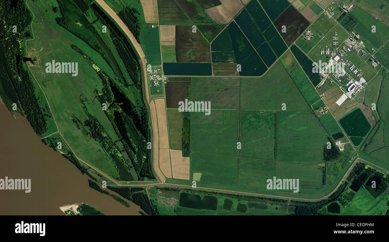 aerial photo map Louisiana State Penitentiary Angola prison farm Louisiana - Stock Image