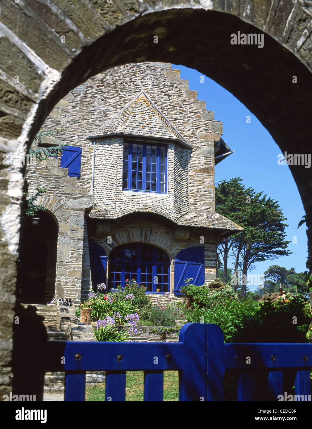 French villa, Perros-Guirec, Côtes-d'Armor, Brittany, France Stock Photo