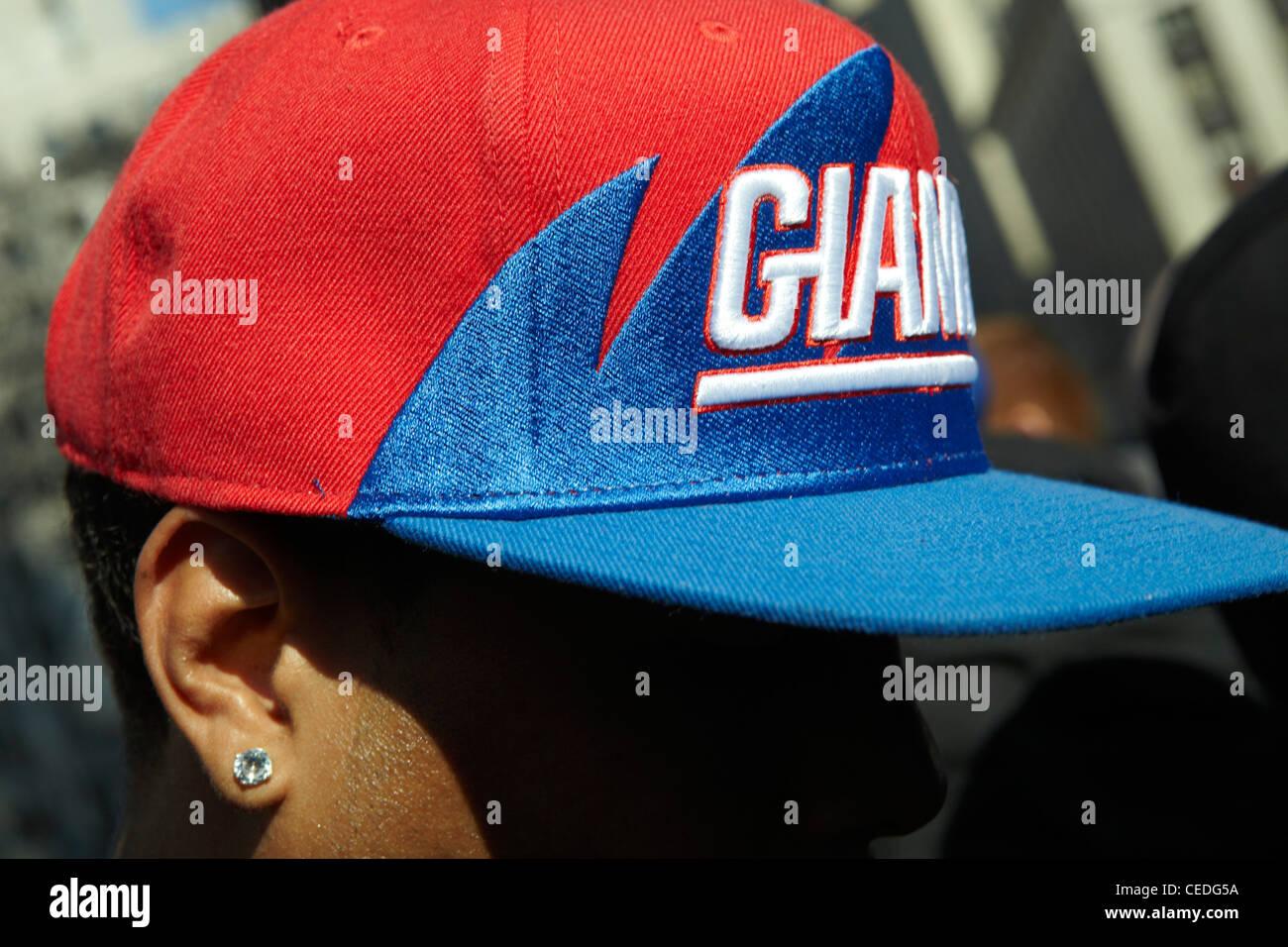 New York Giants cap, ticker tape parade, NY - Stock Image