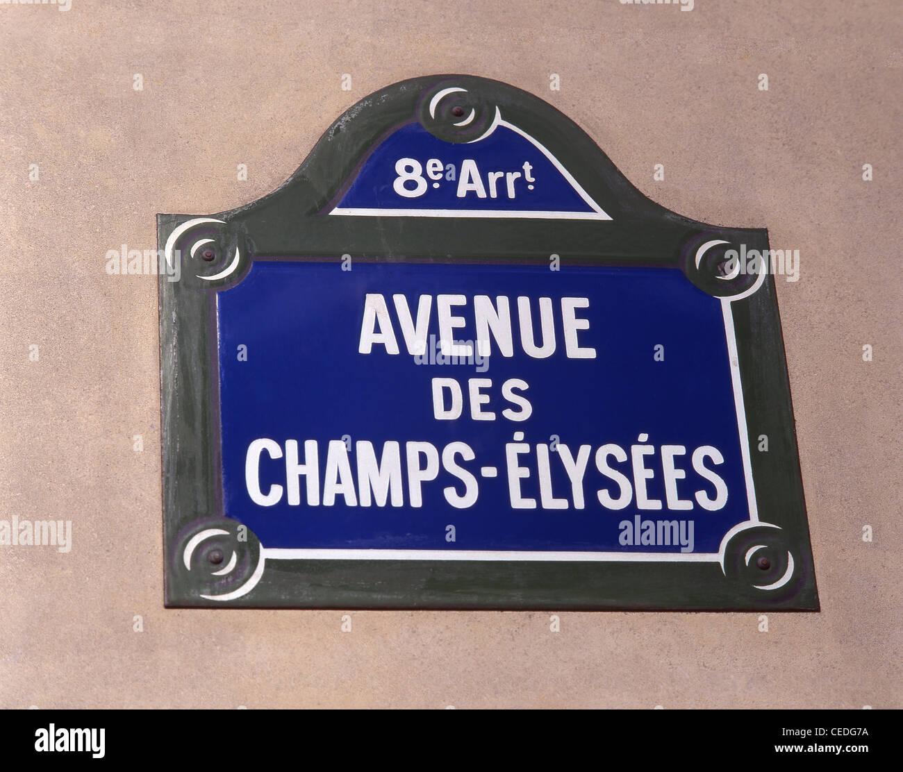 Street sign, Avenue des Champs-Élysées, Paris, Île-de-France, France - Stock Image