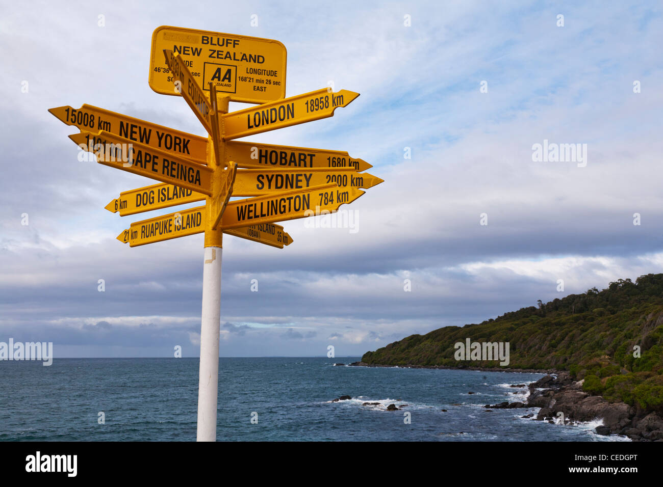 Famous sign at Bluff in the South Island of New Zealand, showing distance to various cities. - Stock Image