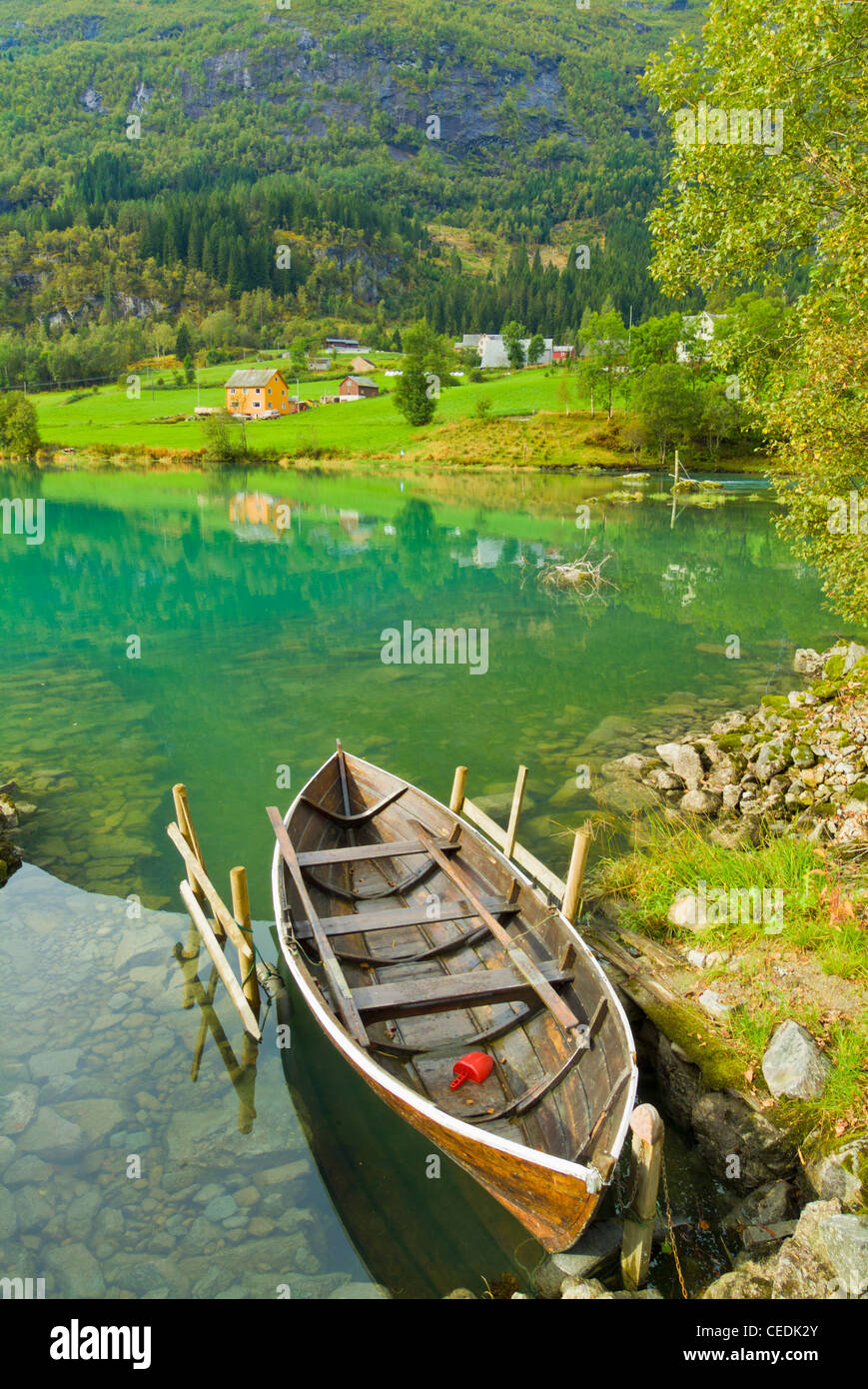 An old rowing boat on Oldevatnet lake Olden Valley Sogn og Fjordane Fjordland norway - Stock Image
