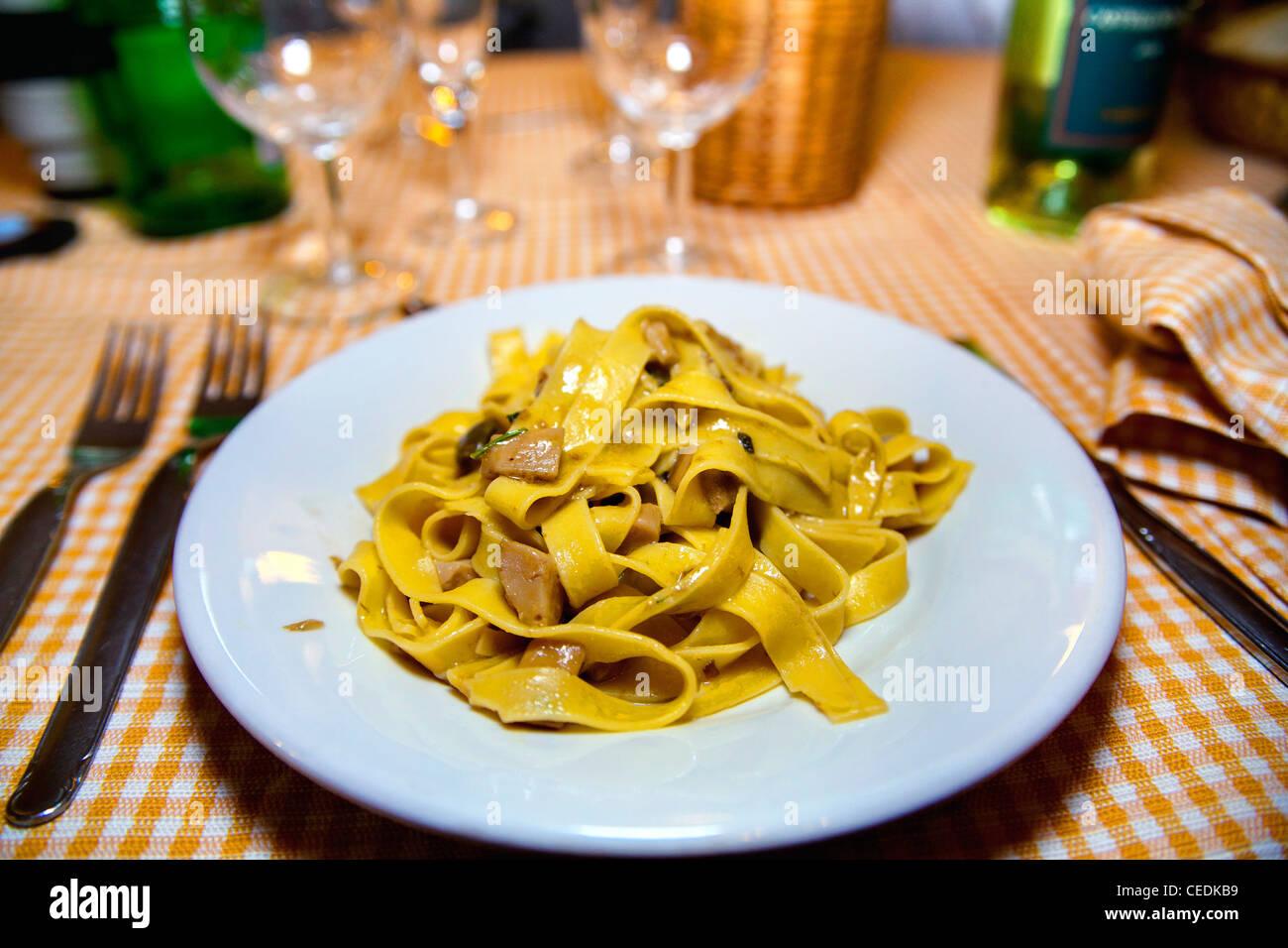 Fettuccine with mushrooms - Stock Image