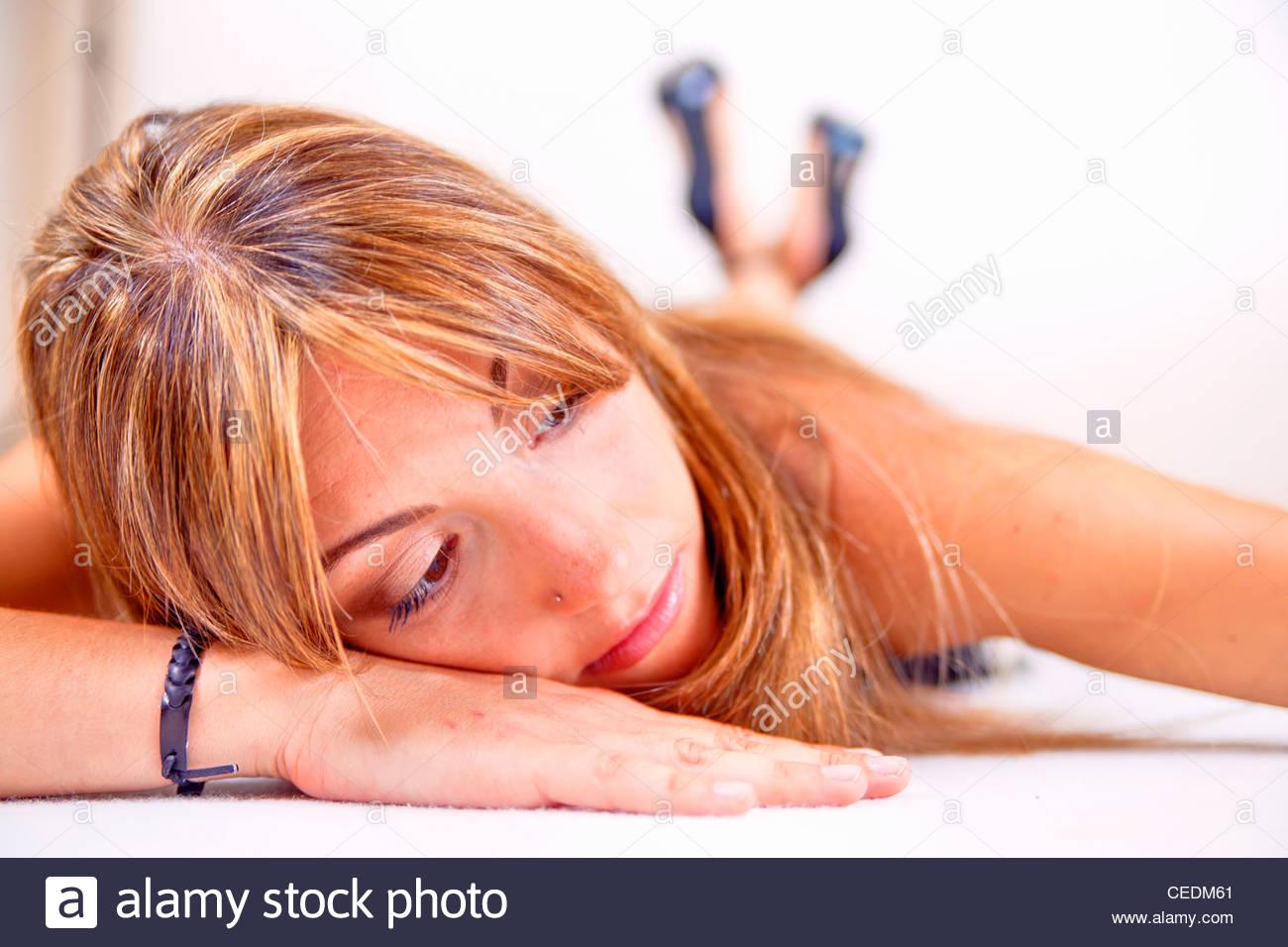 Woman model resting - Stock Image