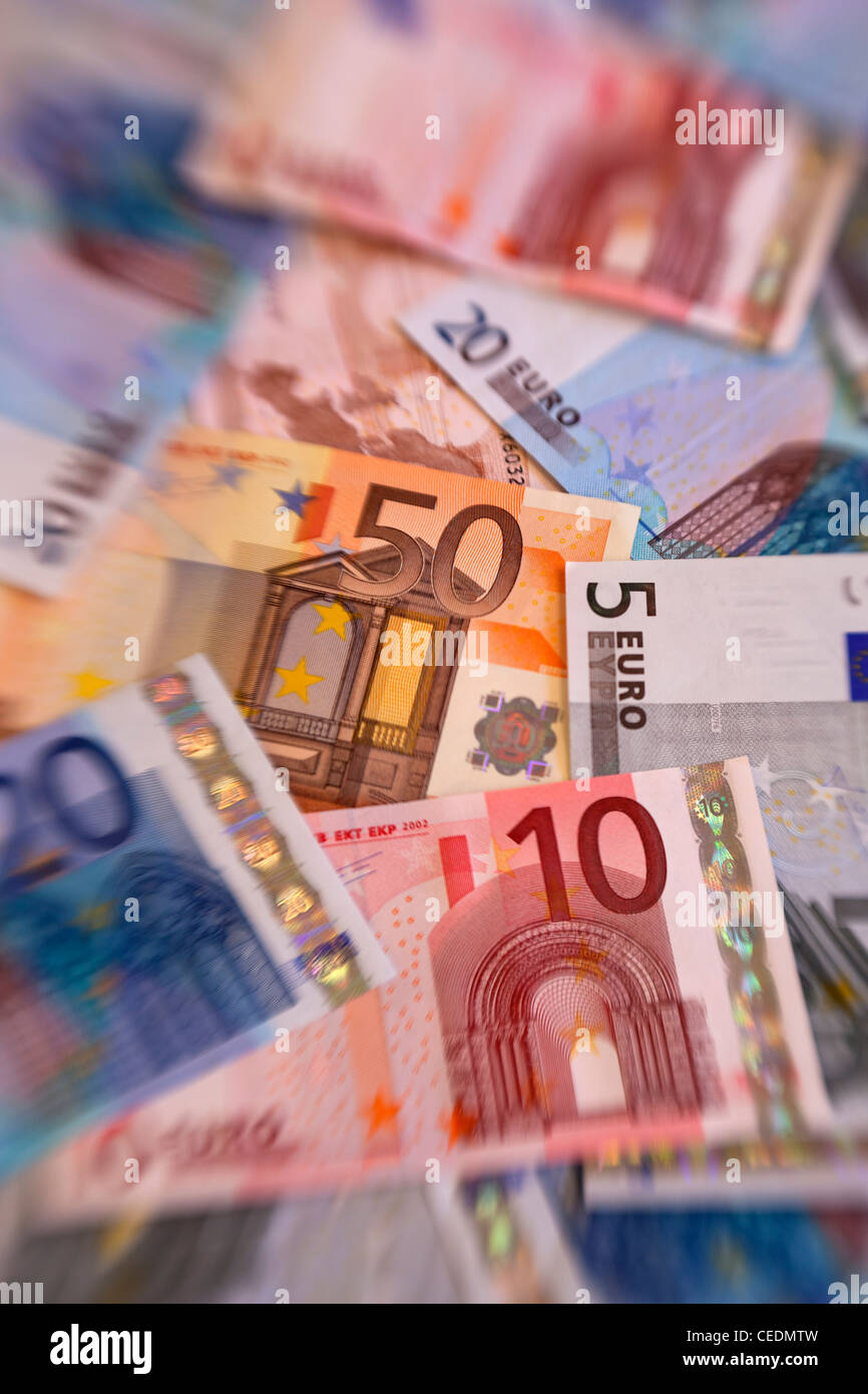 A pile of Euro currency money notes - Stock Image