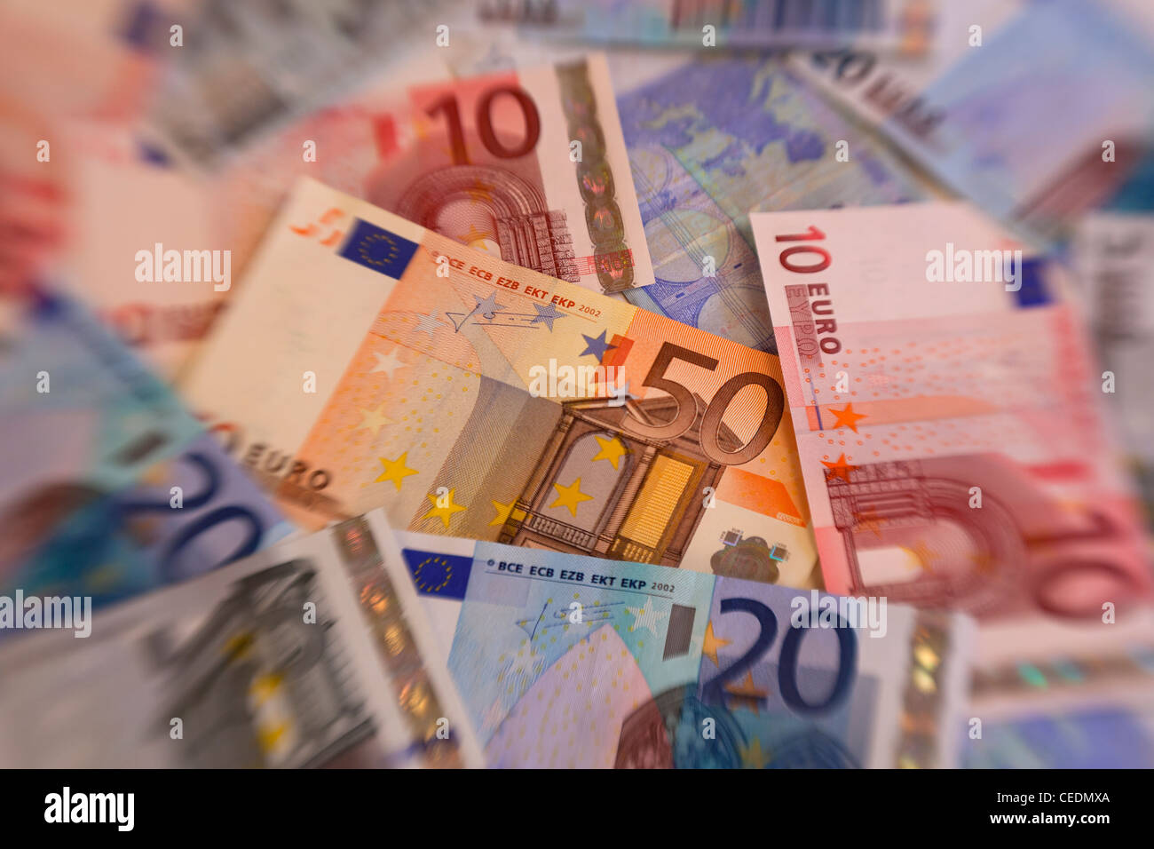 A pile of Euros currency money notes - Stock Image