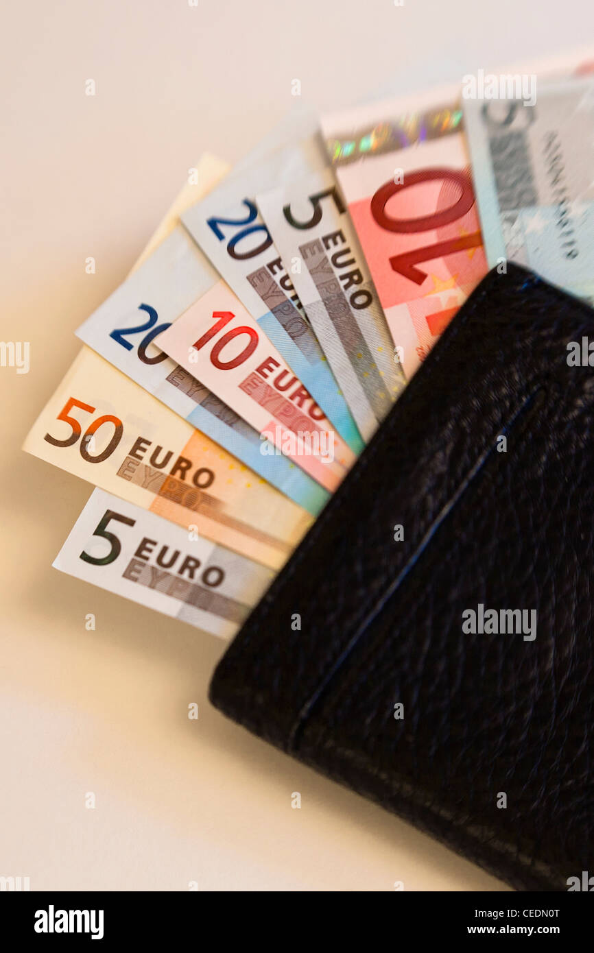 Fan of different size Euro notes currency in wallet - Stock Image