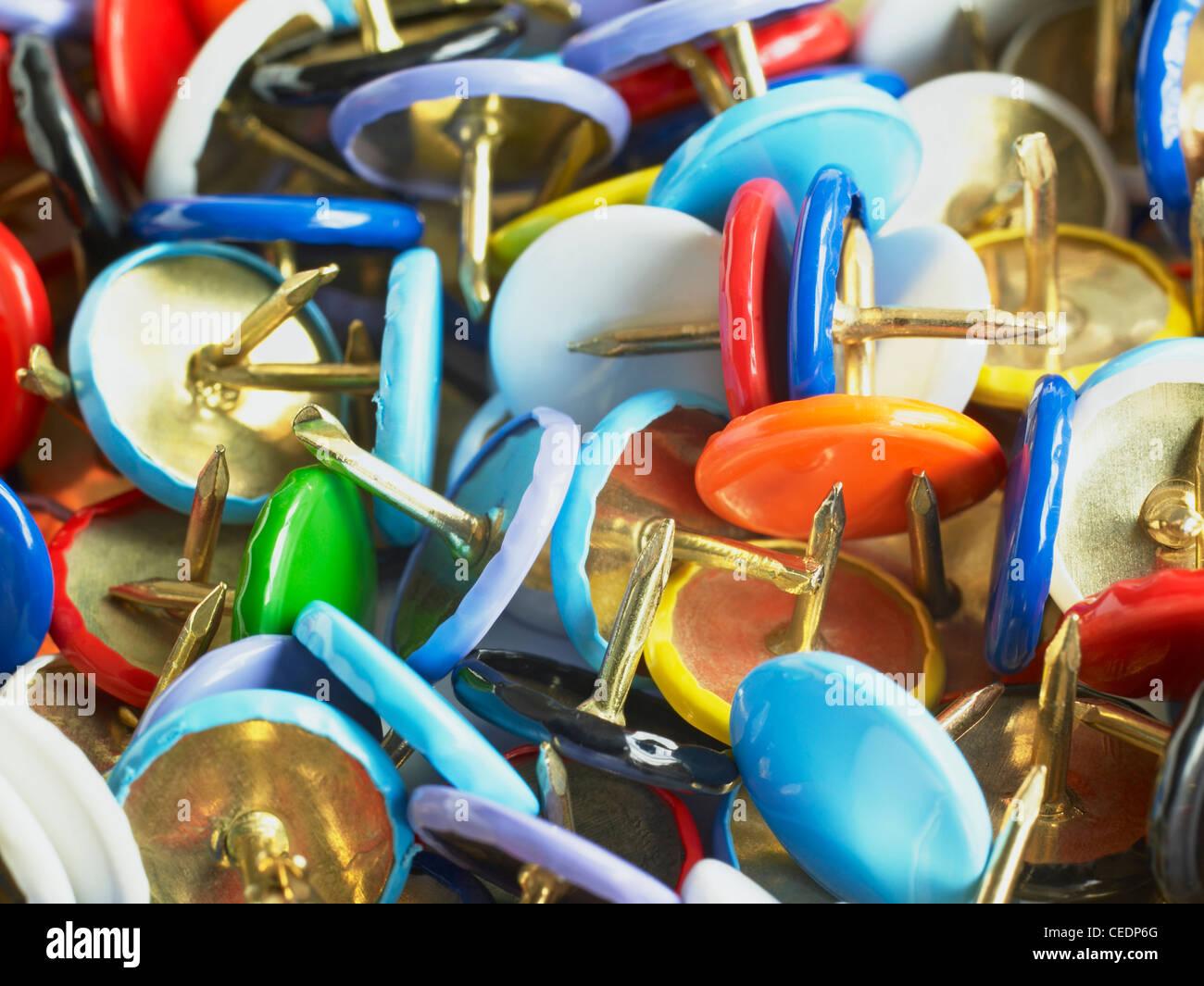 Thumb tacks, close up - Stock Image