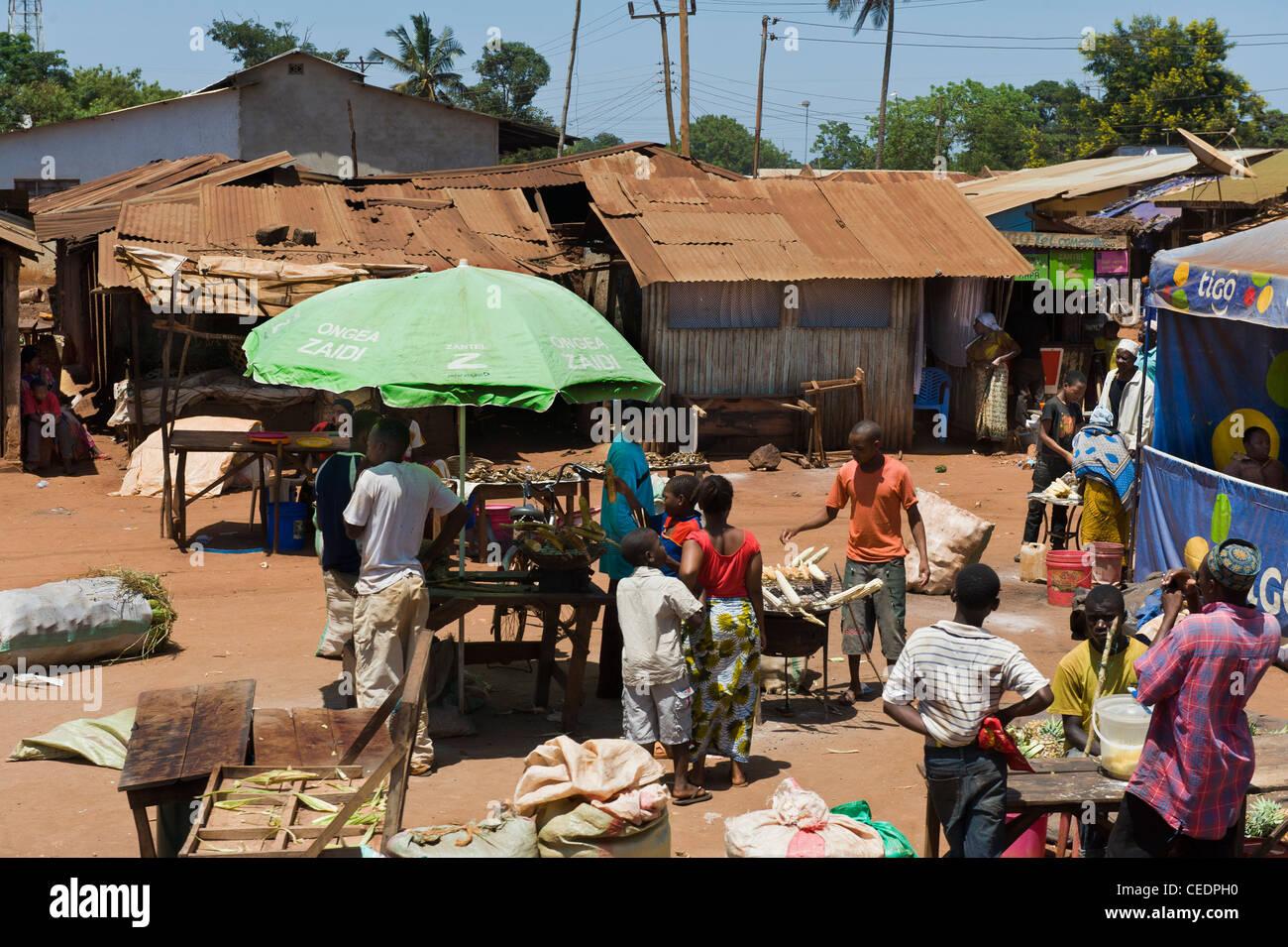 Market scene in a village in Pwani Region Tanzania - Stock Image
