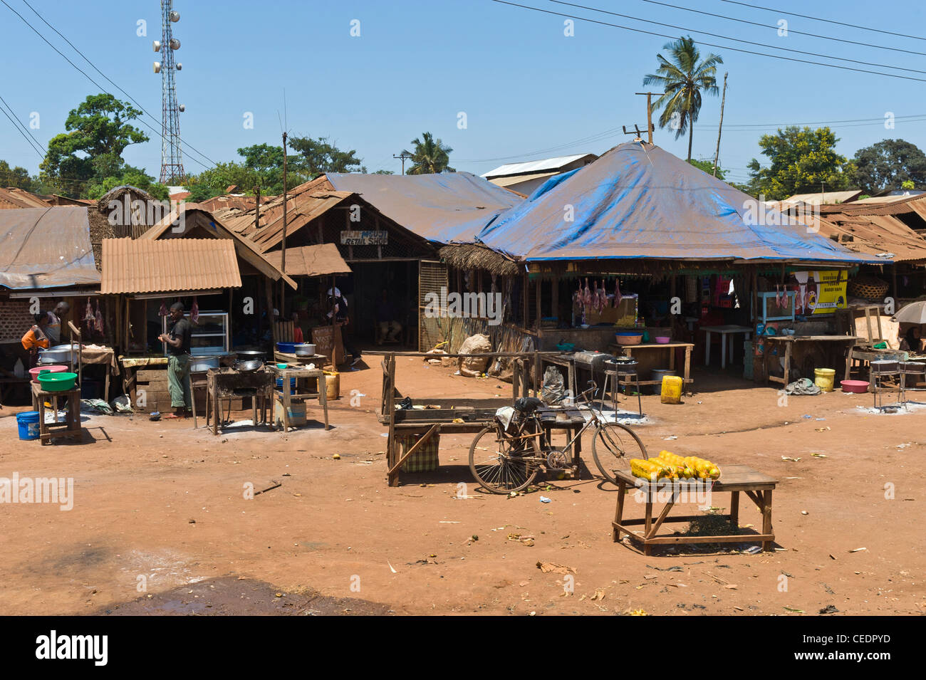 Shops and telecommunication tower in a village in Pwani Region Tanzania - Stock Image