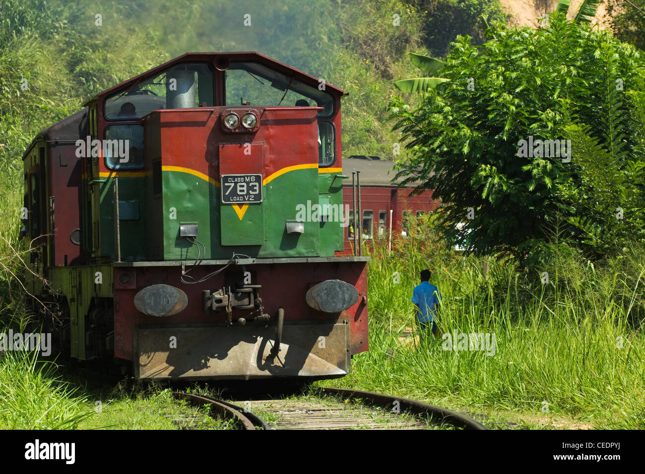 The Badulla to Colombo train, a scenic ride through the Central Highlands with it's mountains & tea plantations; Stock Photo
