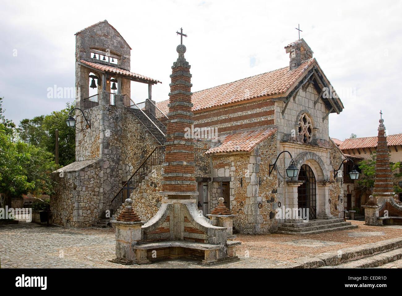 Dominican Republic, Altos de Chavon, St Stanislaus Church, exterior - Stock Image