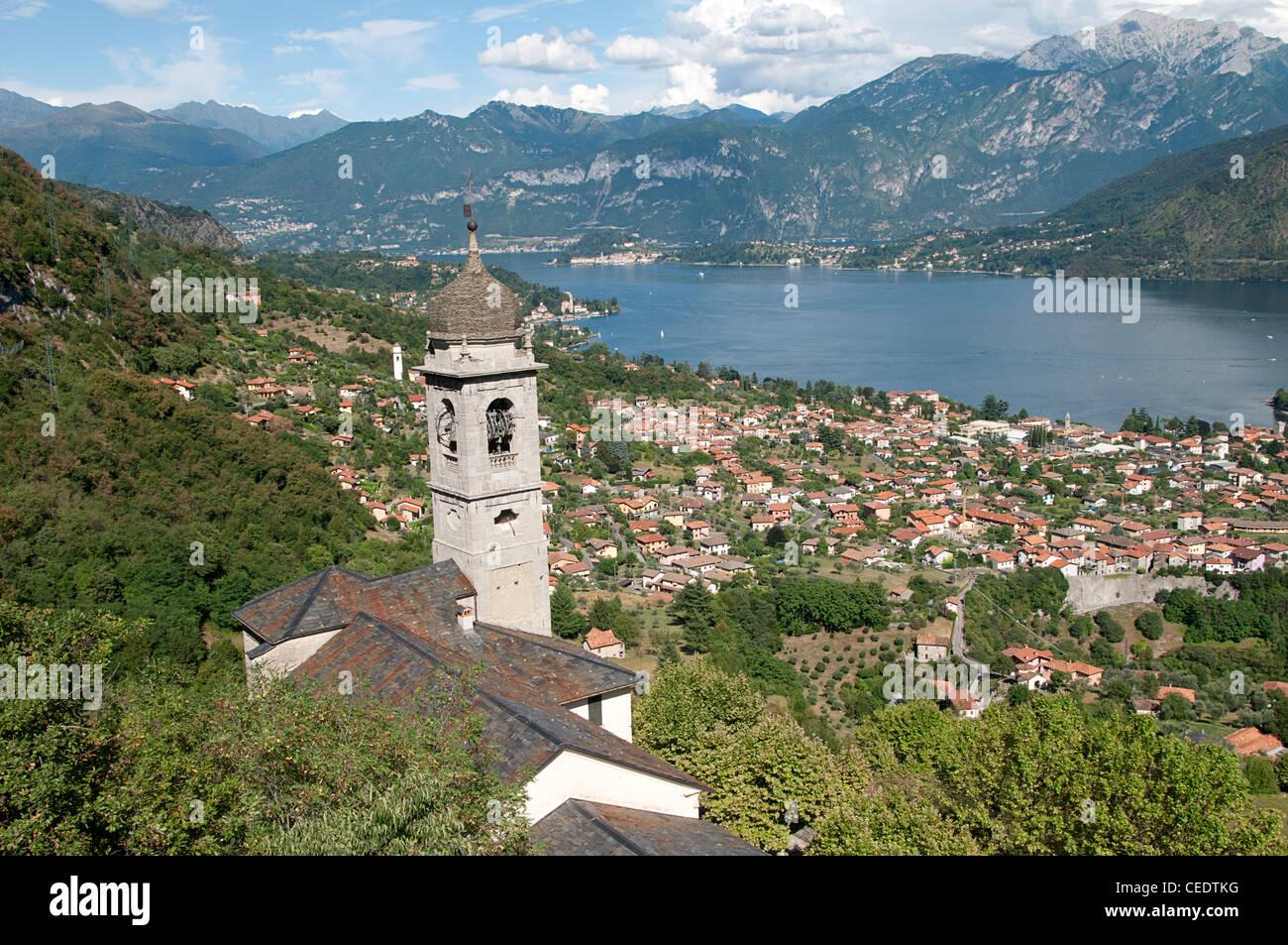 Italy, Lombardy, Lake Como, Sacro Monte di Ossuccio with view of Leno Stock Photo