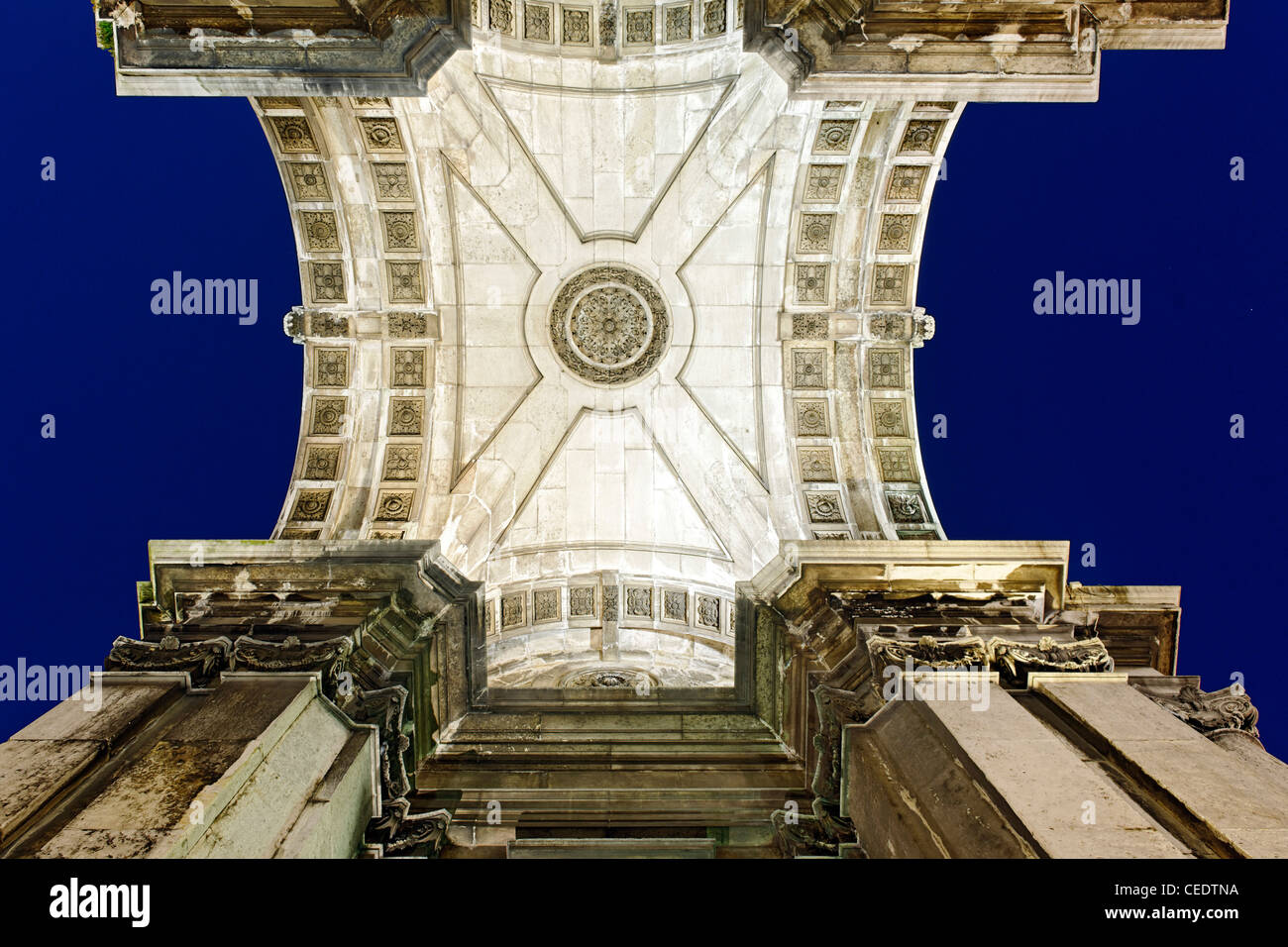 triumphal Arch of Augusta Street, worm's-eye view, trading place, quarter of Baixa, Lisbon, Portugal - Stock Image