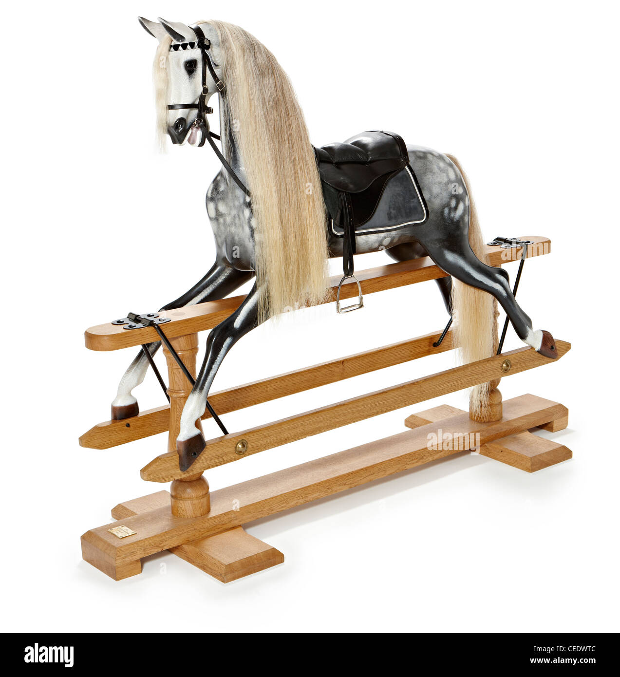 Grey rocking horse Stevenson brothers Stock Photo