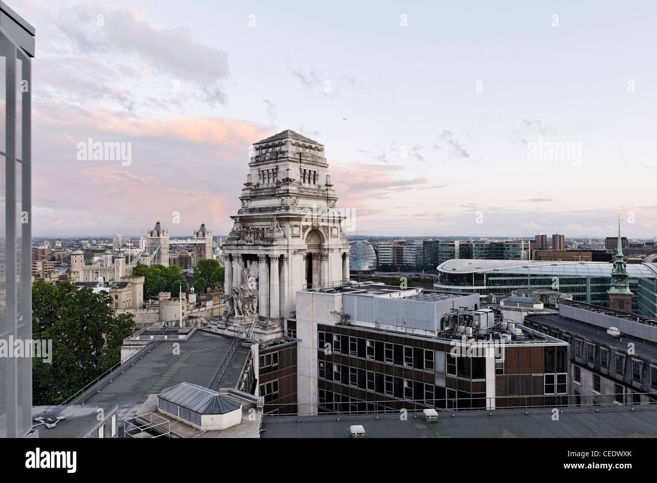 View of Trinity House, Jewel House in the Tower of London, roof terrace MintHotel, Pepys Street, City of London, - Stock Image