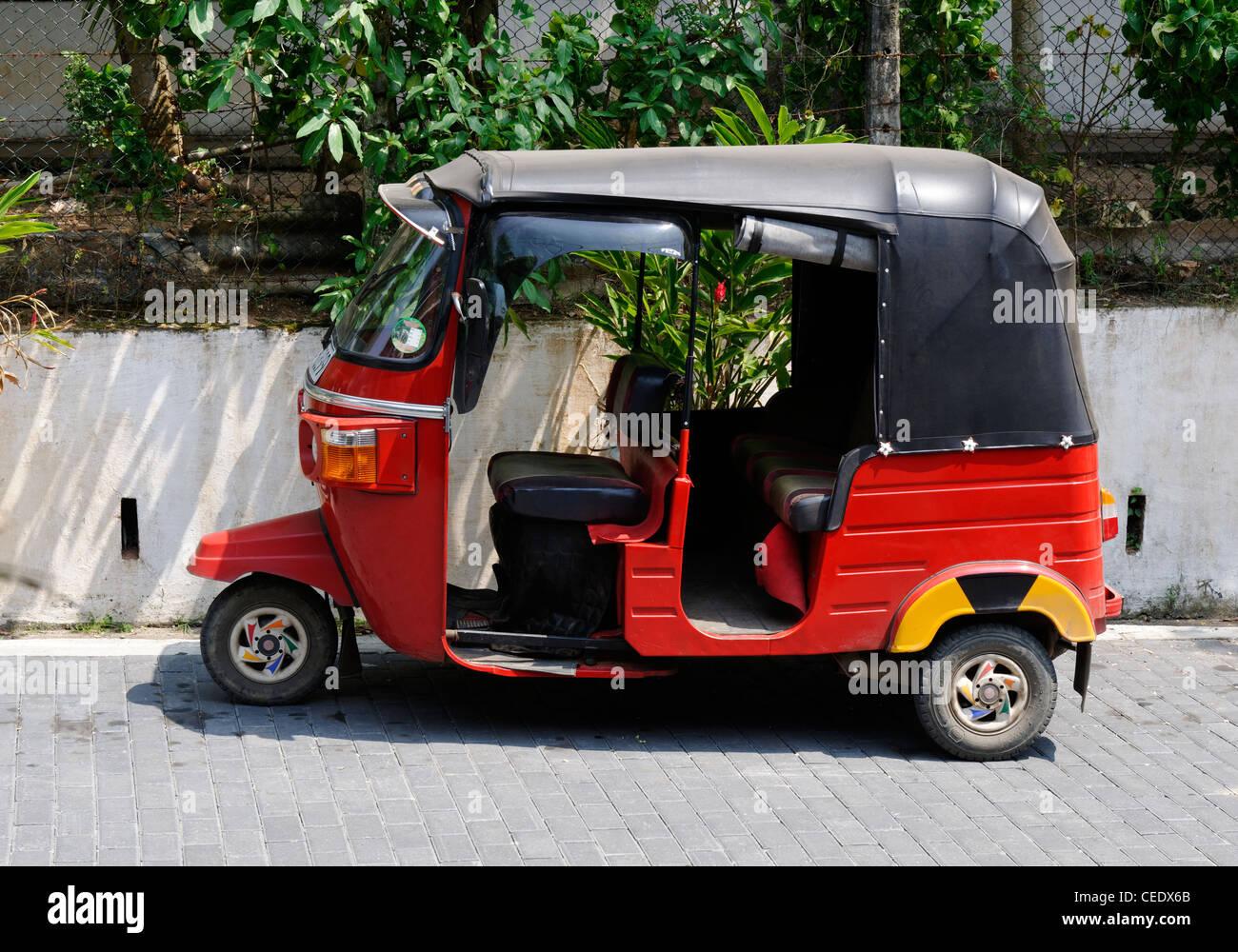 A parked tut tut - taxi transport in Galle, Sri Lanka - Stock Image